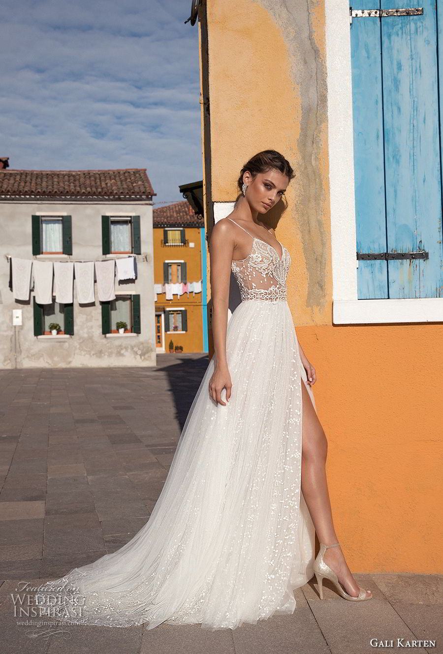gali karten 2018 bridal spaghetti strap sweetheart neckline heavily embellished bodice high slit skirt romantic soft a line wedding dress sweep train (13) sdv