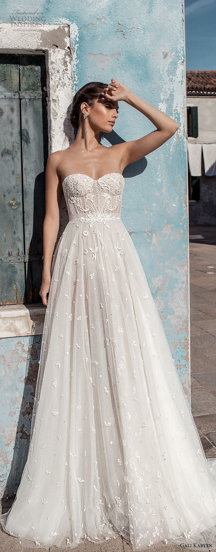 gali karten 2018 bridal strapless sweetheart neckline heavily embellished bodice bustier romantic soft a  line wedding dress medium train (3) mv
