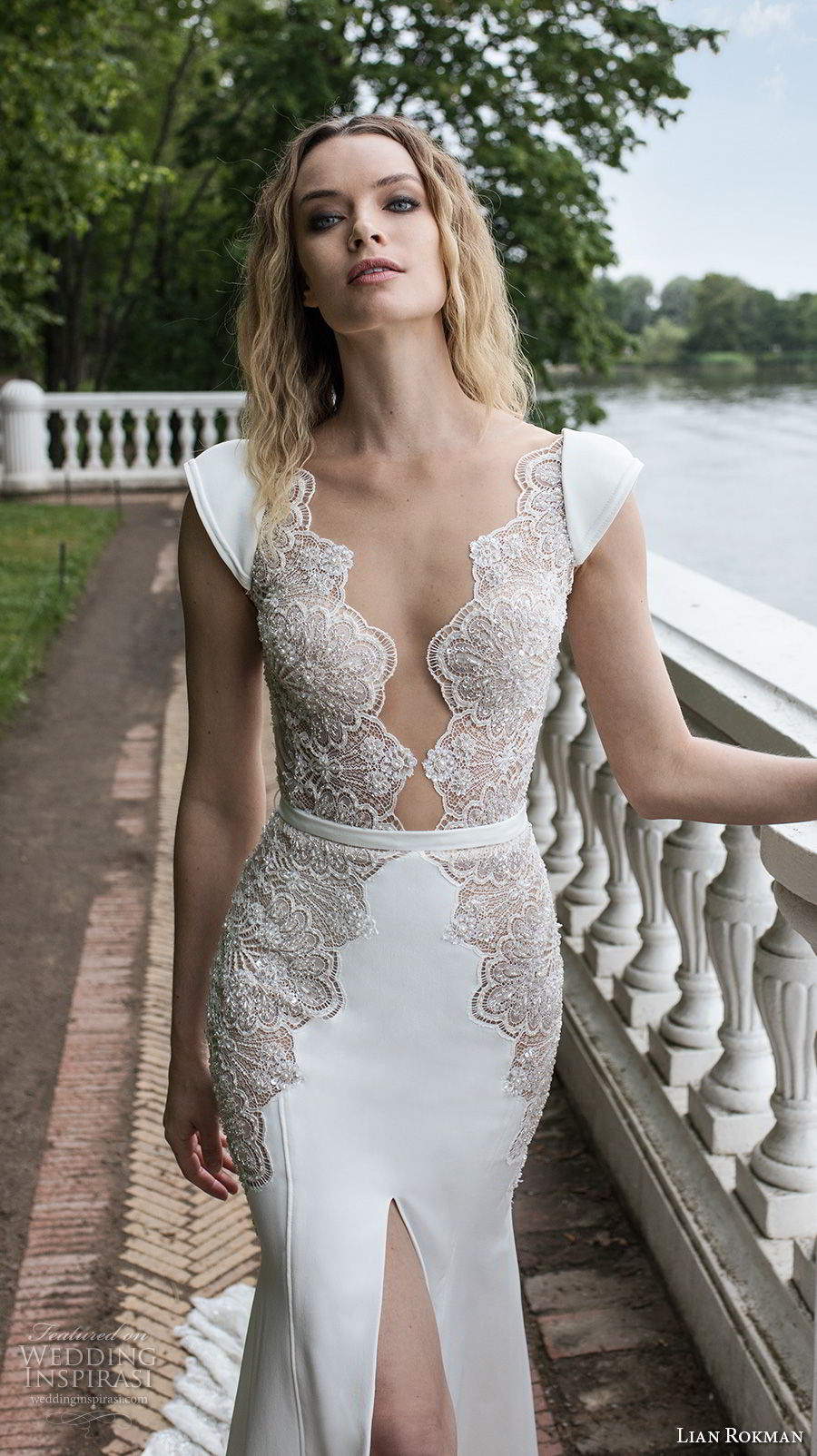 lian rokman 2018 bridal cap sleeves deep v neck heavily embellished bodice high slit skirt sheath wedding dress open v back chapel train (13) zv