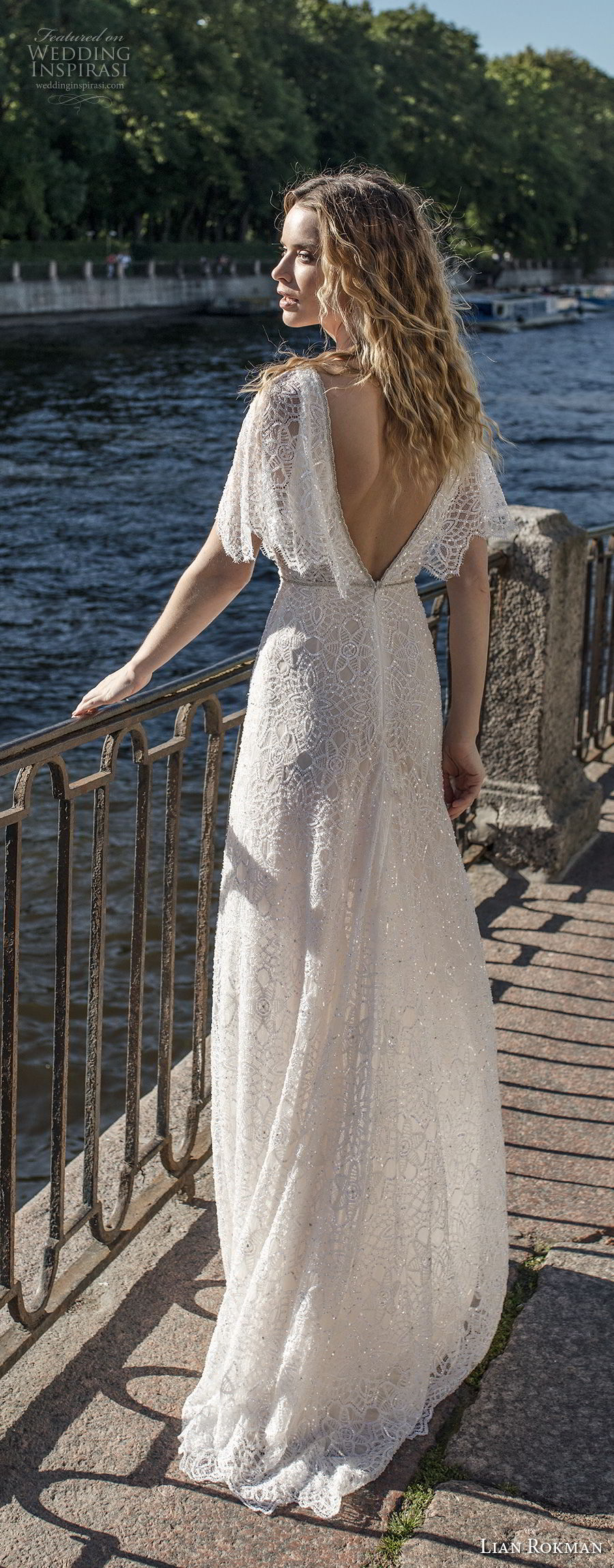 lian rokman 2018 bridal half butterfly sleeves deep v neck full embellishment romantic bohemian sheath wedding dress open v back sweep train (8) bv