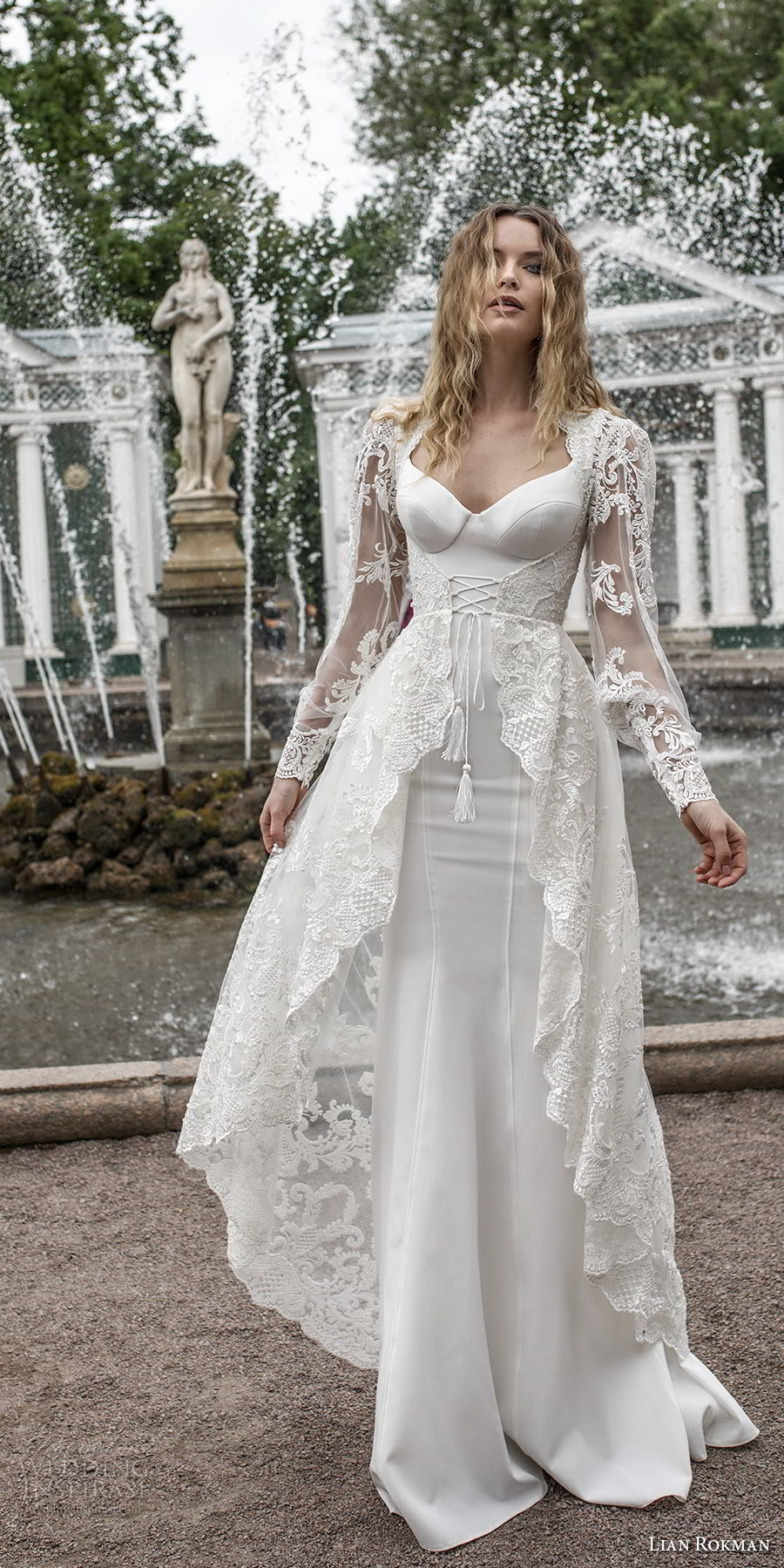 lian rokman 2018 bridal long sleeves ballerina neckline simple full embellishment elegant sheath wedding dress a  line overskirt lace back sweep train (12) mv