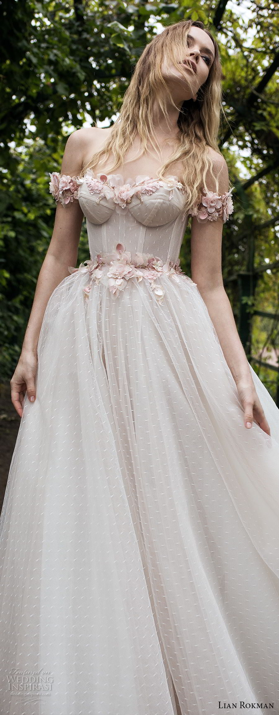 lian rokman 2018 bridal off the shoulder sweetheart neckline heavily embellished bodice bustier romantic princess pink ball gown a  line wedding dress open v back sweep train (1) lv