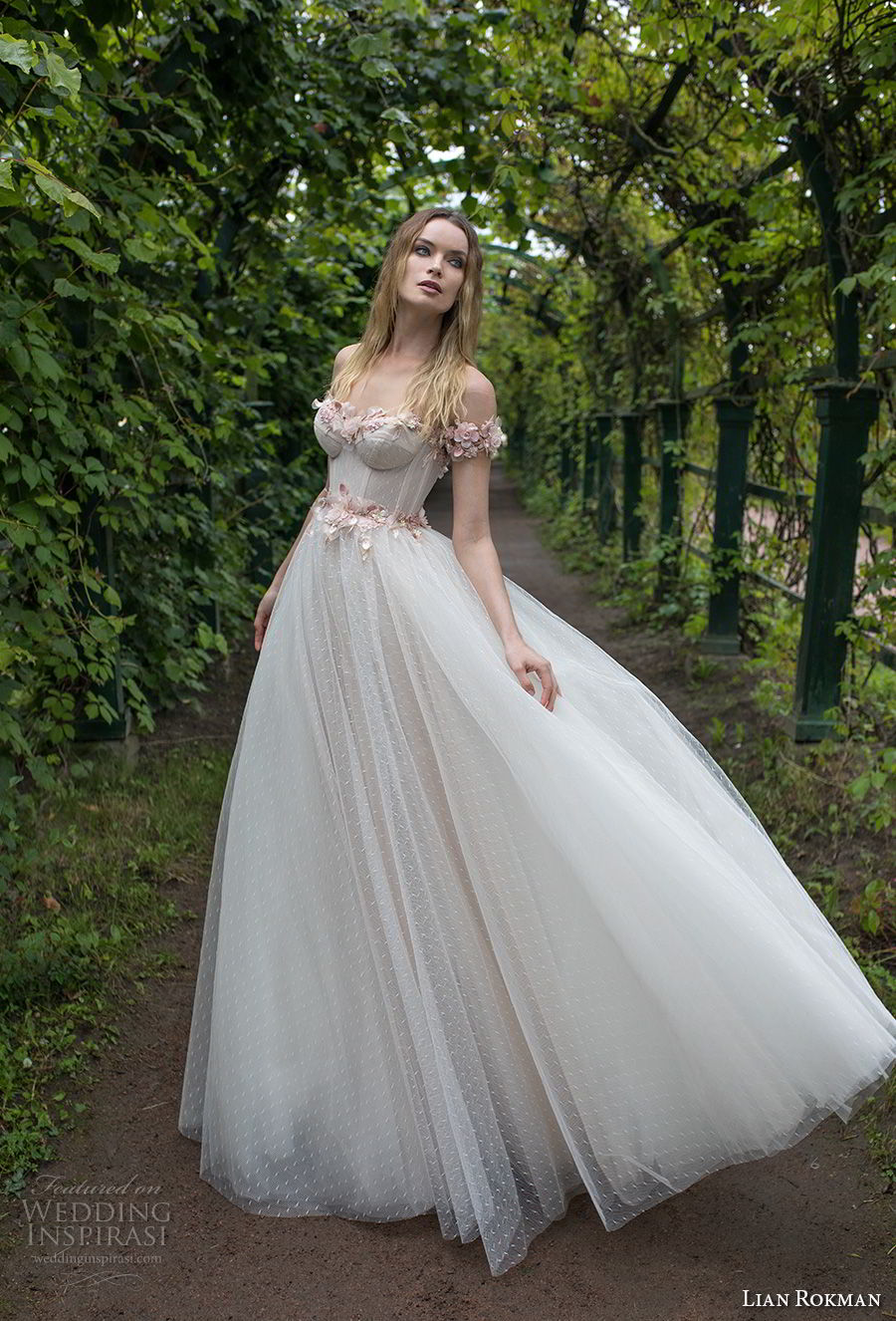 lian rokman 2018 bridal off the shoulder sweetheart neckline heavily embellished bodice bustier romantic princess pink ball gown a line wedding dress open v back sweep train (1) mv