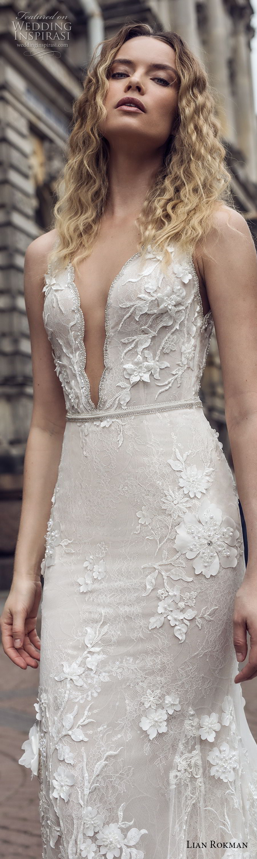 lian rokman 2018 bridal sleeveless deep plunging v neck full embellishment elegant sexy fit and flare wedding dress low open back medium train (2) lv