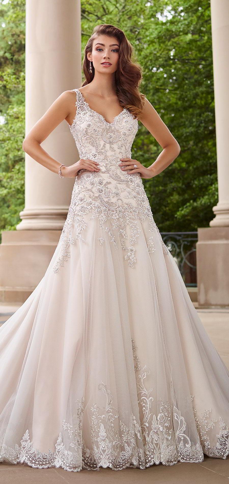 martin thornburg mon cheri spring 2018 bridal sleeveless beaded straps sweetheart beaded bodice a line fit flare wedding dress (118260 minuet) mv romantic