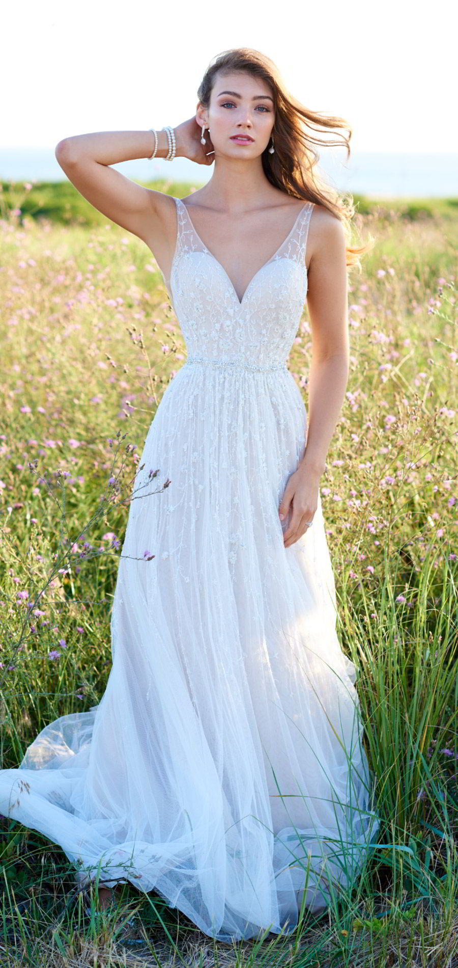 martin thornburg mon cheri spring 2018 bridal sleeveless illusion straps v neck beaded bodice a line wedding dress (118254 stanza) mv romantic