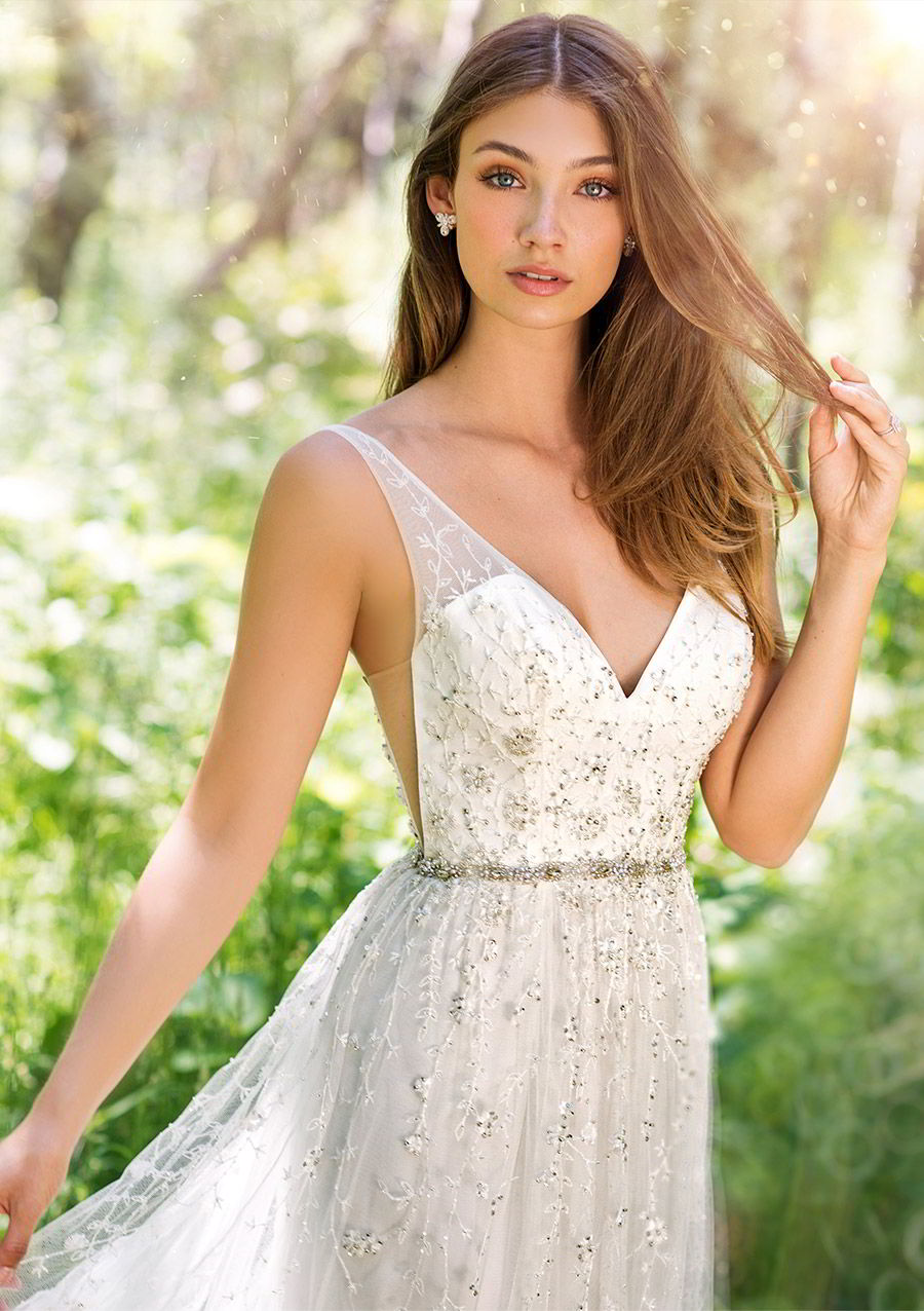 martin thornburg mon cheri spring 2018 bridal sleeveless illusion straps v neck beaded bodice a line wedding dress (118254 stanza) zv romantic