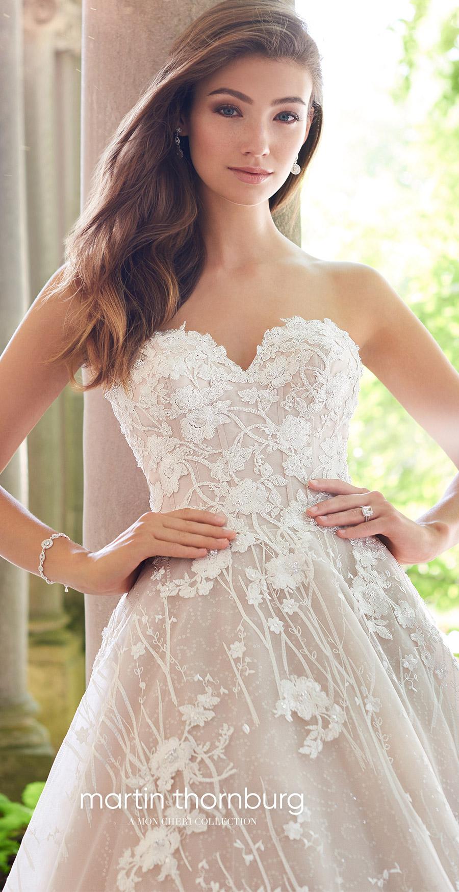 martin thornburg mon cheri spring 2018 bridal strapless sweetheart beaded bodice a line lace wedding dress (118281 coda) zv elegant romantic