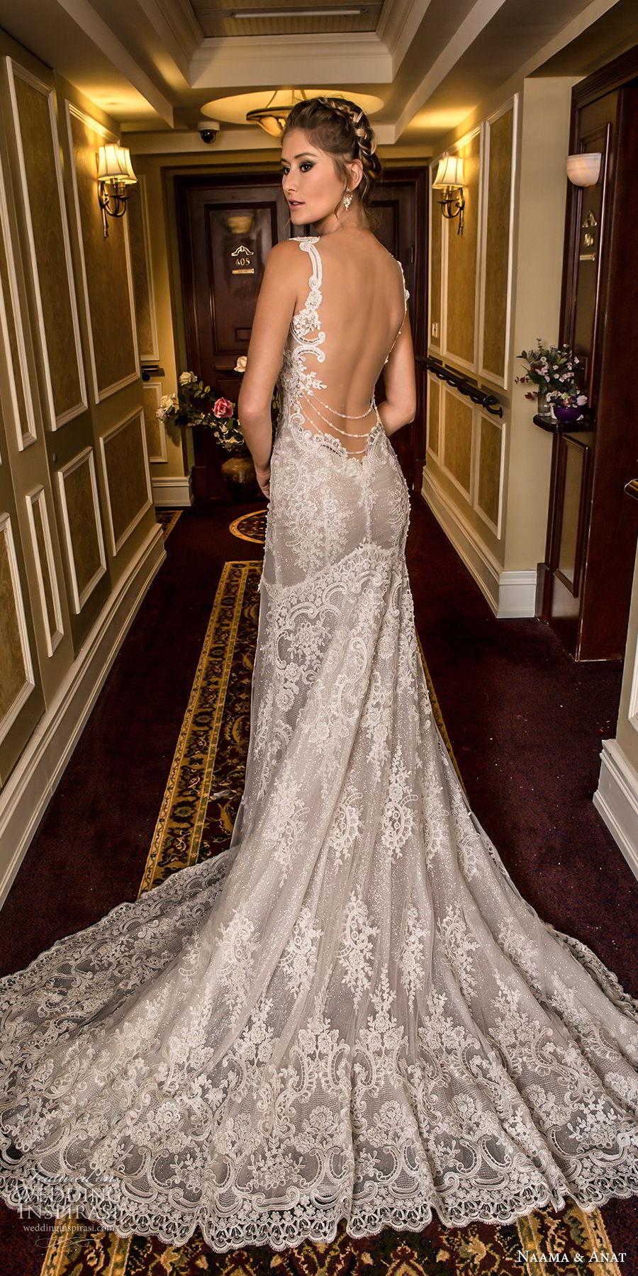 naama and anat fall 2018 bridal cap sleeves deep plunging sweetheart neckline full embellishment elegant trumpet wedding dress low open back medium train (2) bv