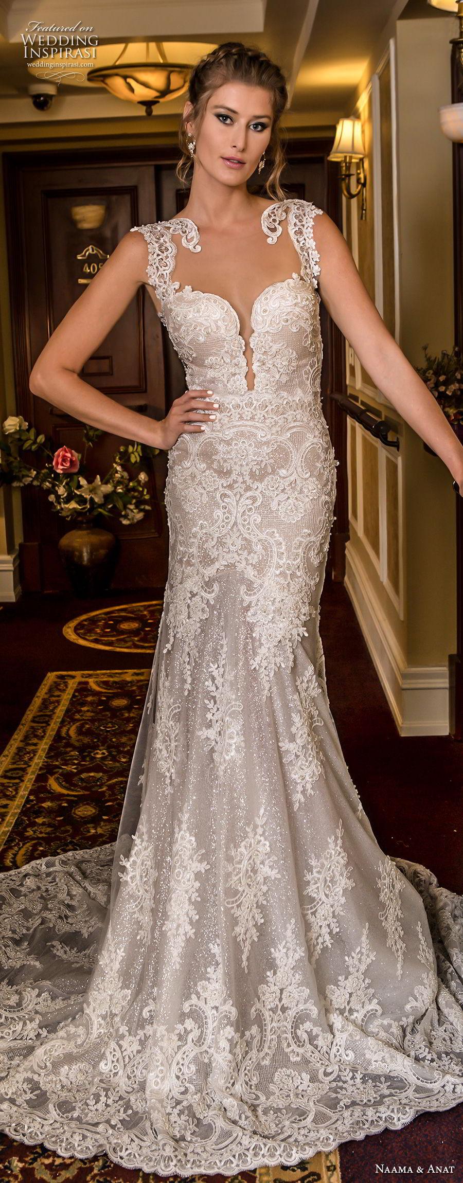 naama and anat fall 2018 bridal cap sleeves deep plunging sweetheart neckline full embellishment elegant trumpet wedding dress low open back medium train (2) mv