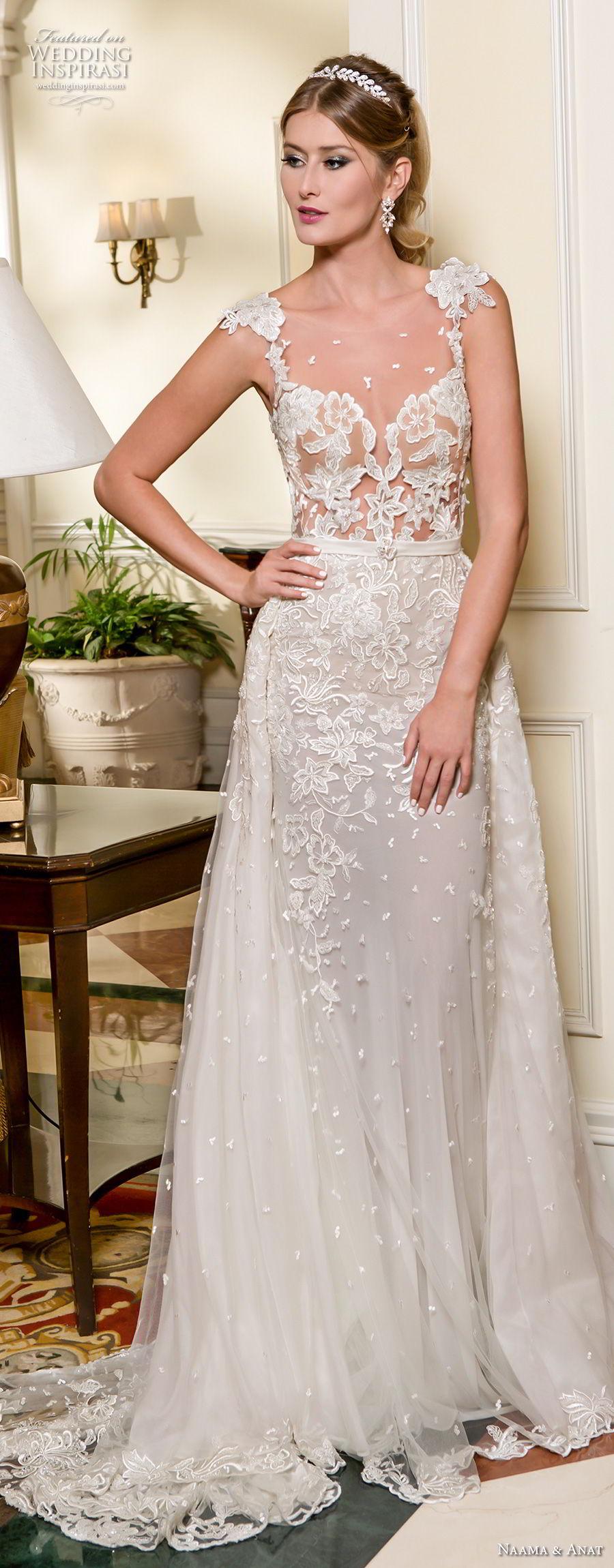 naama and anat fall 2018 bridal cap sleeves sweetheart neckline full embellishment elegant a  line wedding dress low open back sweep train (5) mv