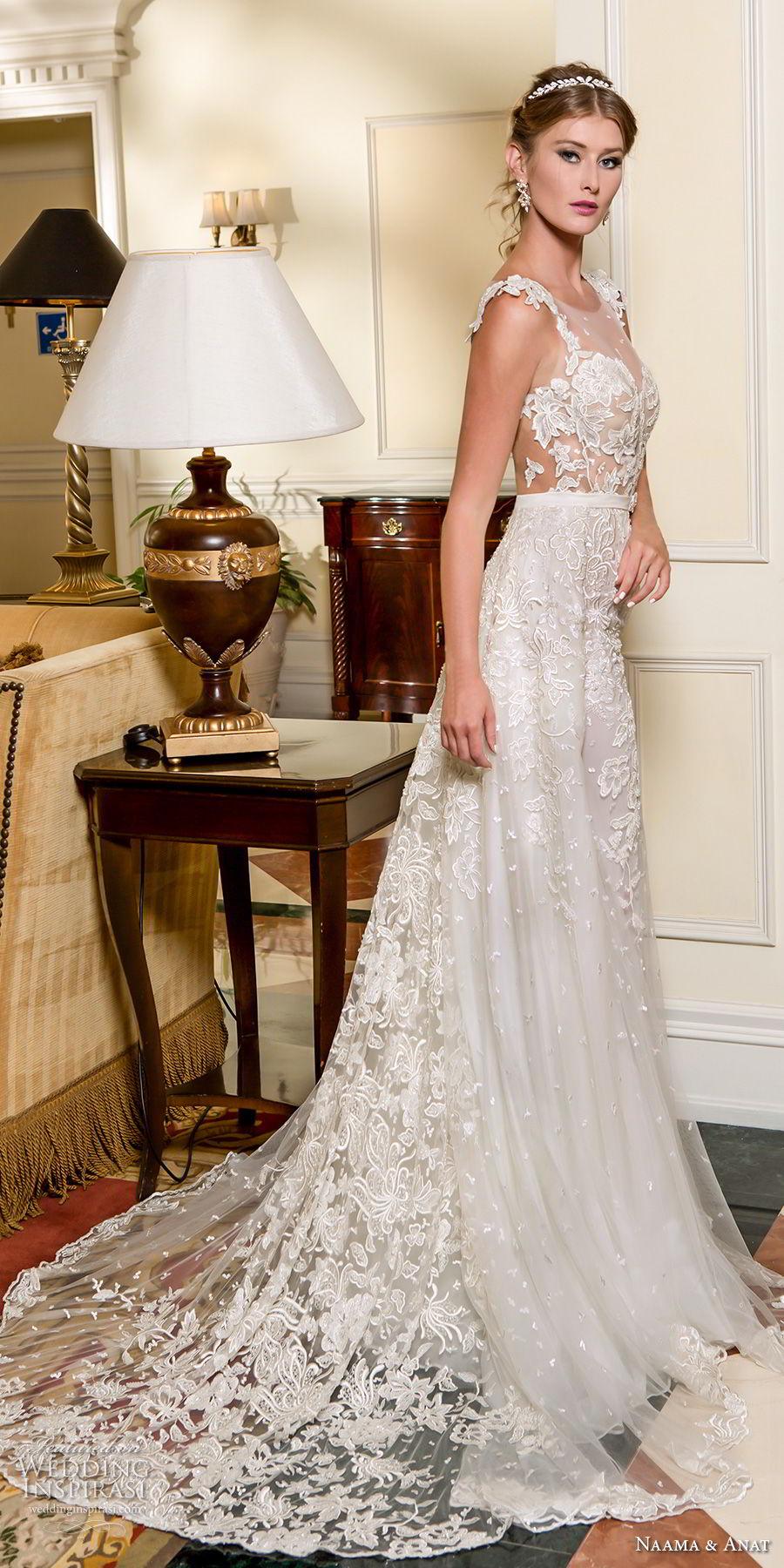 naama and anat fall 2018 bridal cap sleeves sweetheart neckline full embellishment elegant a  line wedding dress low open back sweep train (5) sdv