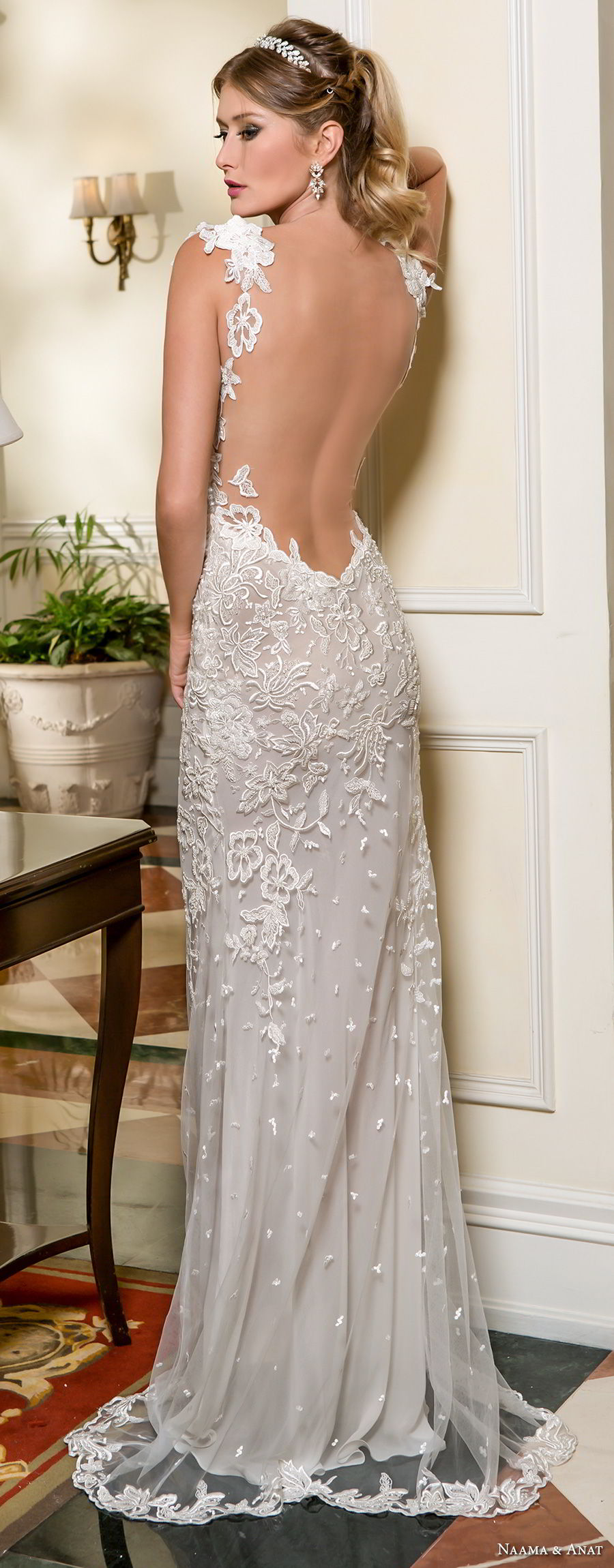 naama and anat fall 2018 bridal cap sleeves sweetheart neckline full embellishment elegant fit and flare wedding dress low open back sweep train (5) bv