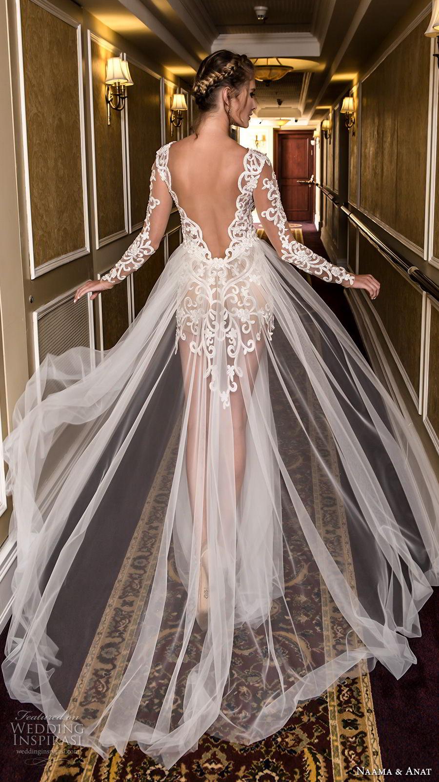naama and anat fall 2018 bridal long sleeves deep v neck heavily embellished bodice high slit skirt elegant soft a  line wedding dress open v back sweep train (1) bv