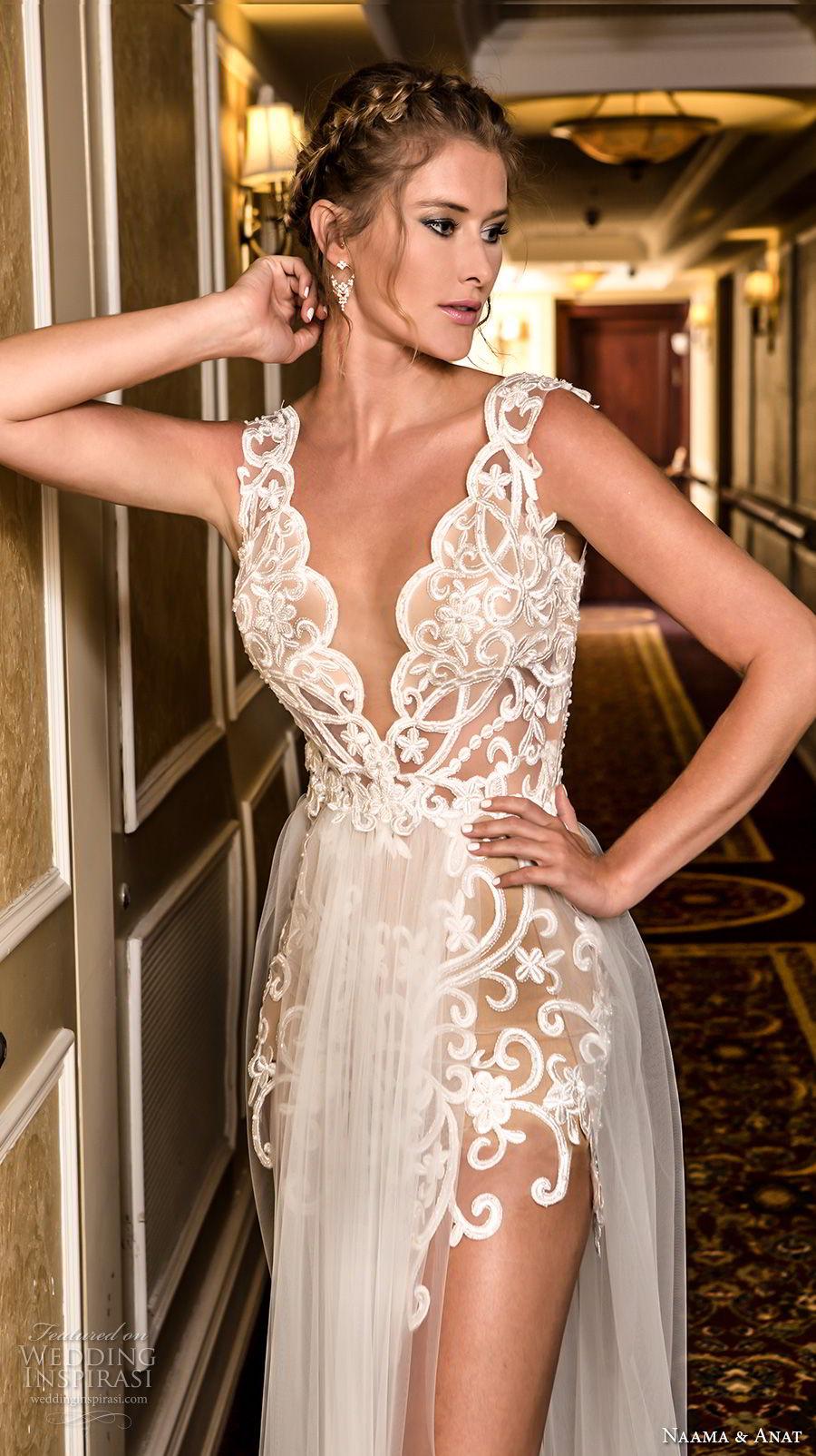 naama and anat fall 2018 bridal long sleeves deep v neck heavily embellished bodice high slit skirt elegant soft a  line wedding dress open v back sweep train (1) zv