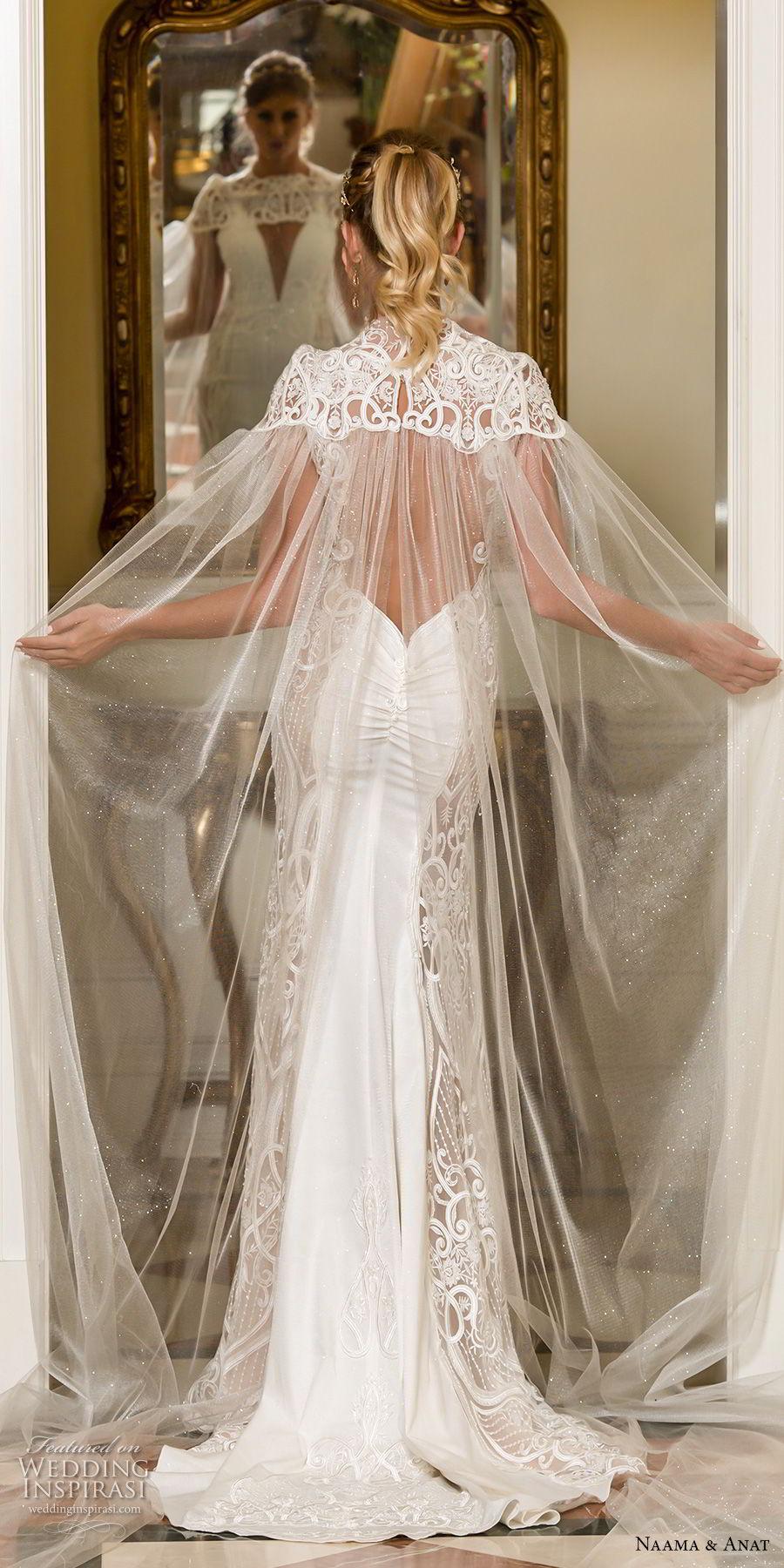 naama and anat fall 2018 bridal sleeveless deep plunging v neck heavily embellished bodice elegant sheath wedding dress with cape open back sweep train (6) bv