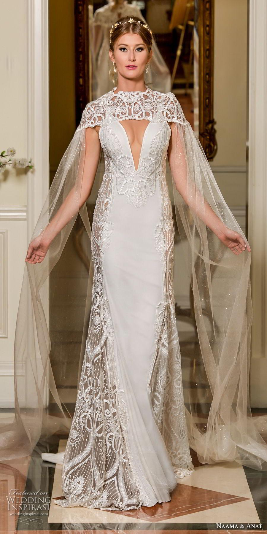 naama and anat fall 2018 bridal sleeveless deep plunging v neck heavily embellished bodice elegant sheath wedding dress with cape open back sweep train (6) mv