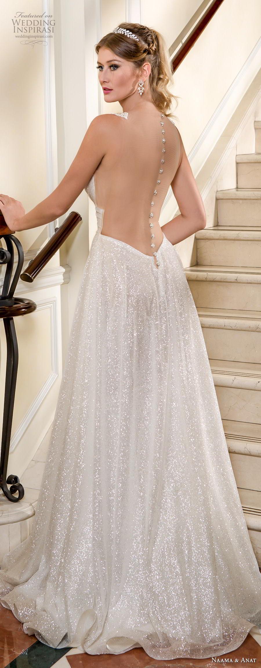 naama and anat fall 2018 bridal sleeveless deep v neckline light glitter embellishment romantic soft a  line wedding dress sheer button back sweep train (4) bv