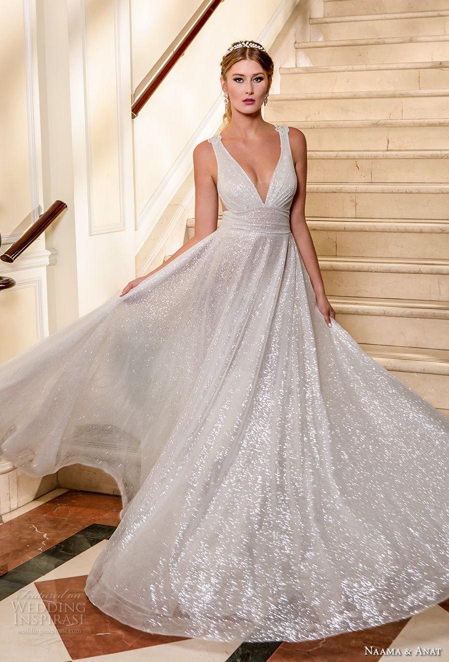 naama and anat fall 2018 bridal sleeveless deep v neckline light glitter embellishment romantic soft a  line wedding dress sheer button back sweep train (4) mv