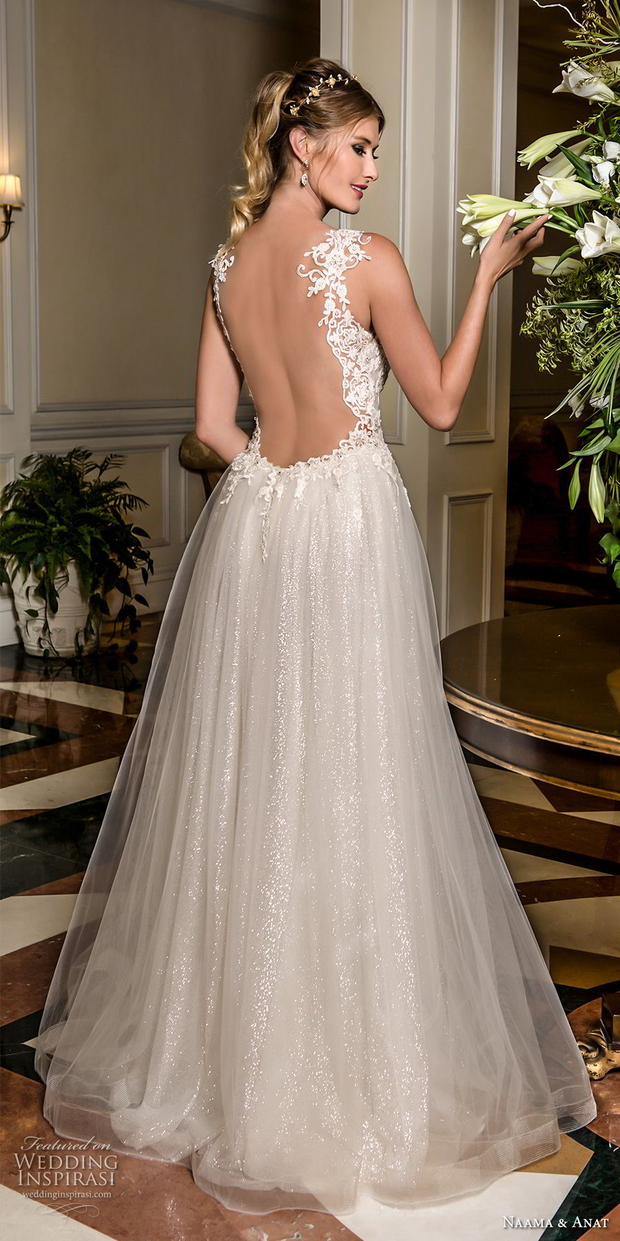 naama and anat fall 2018 bridal sleeveless with strap sweetheart neckline heavily embellished bodice romantic a  line wedding dress low open back sweep train (7) bv