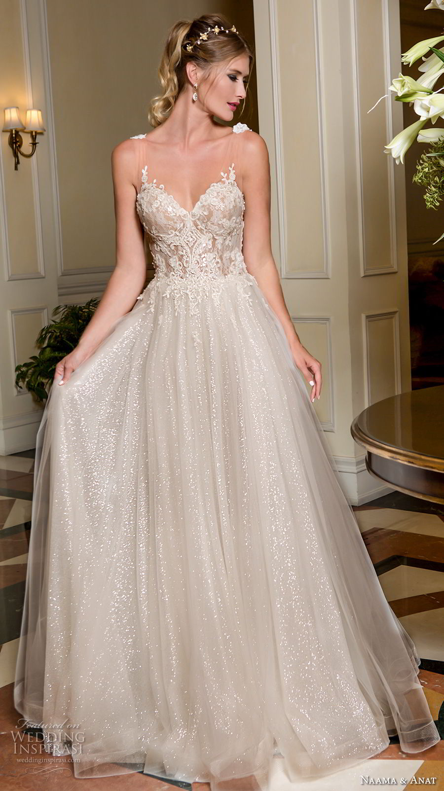 naama and anat fall 2018 bridal sleeveless with strap sweetheart neckline heavily embellished bodice romantic a  line wedding dress low open back sweep train (7) mv