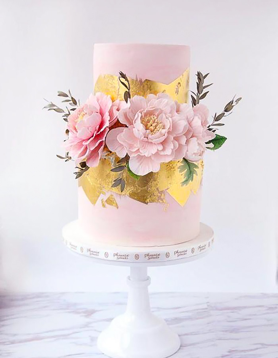 pink 2 tier pink floral gold accent wedding cake (6) mv