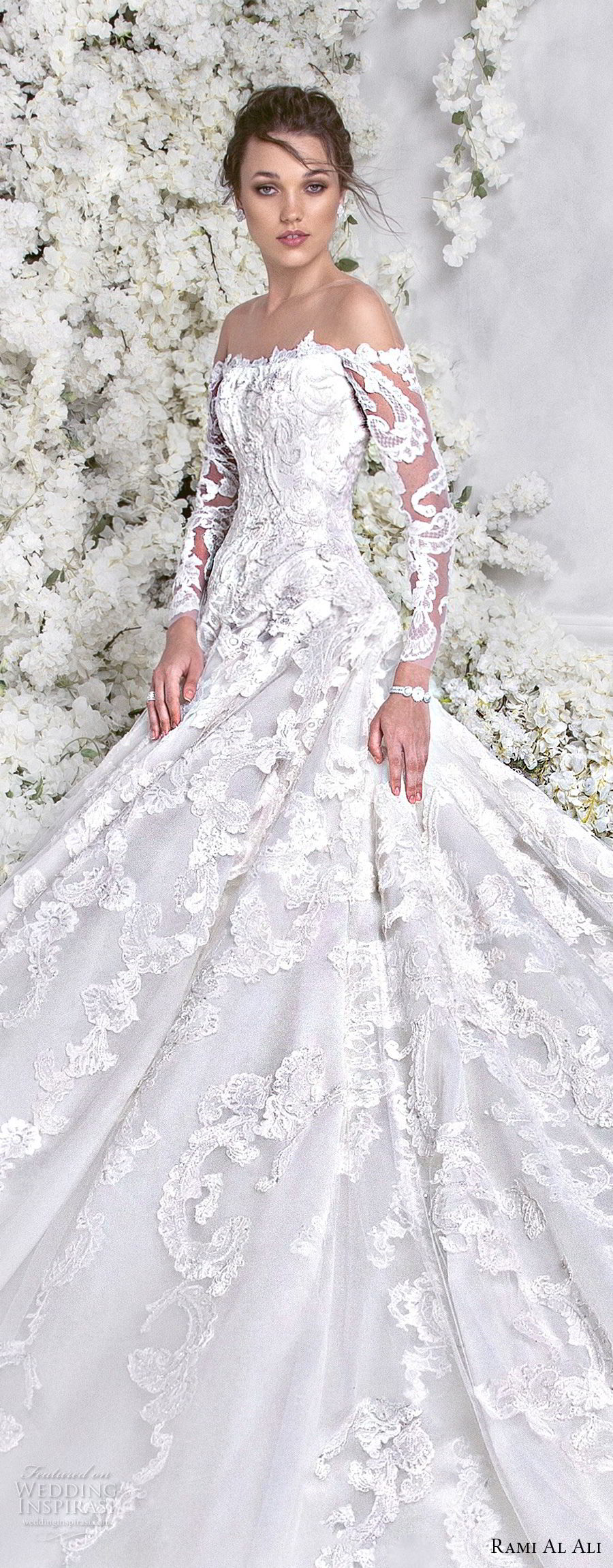 rami al ali 2018 bridal long sleeves off the shoulder straight across neckline full embellishment elegant princess a  line wedding dress royal train (7) lv