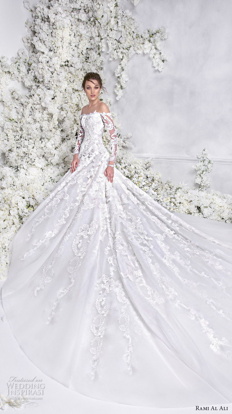 rami al ali 2018 bridal long sleeves off the shoulder straight across neckline full embellishment elegant princess a  line wedding dress royal train (7) mv