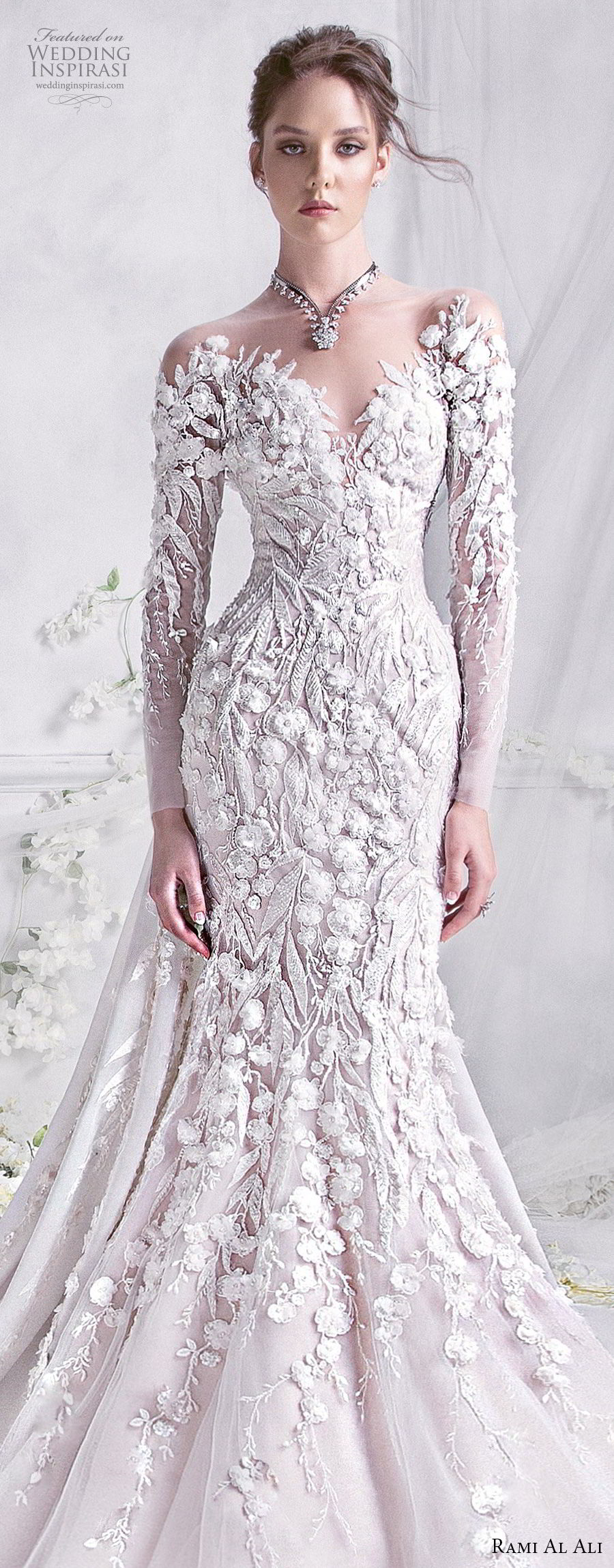 rami al ali 2018 bridal long sleeves off the shoulder sweetheart neckline full embellishment glamorous elegant trumpet fit flare mermaid wedding dress royal train (6) lv
