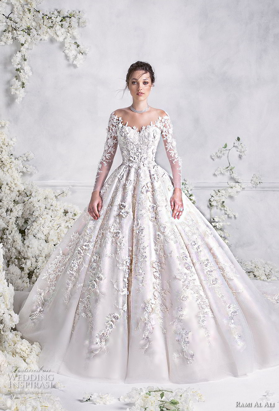 Rami Al Ali 2018 Bridal Long Sleeves Off The Shoulder Sweetheart Neckline Full Embellishment Princess Ball