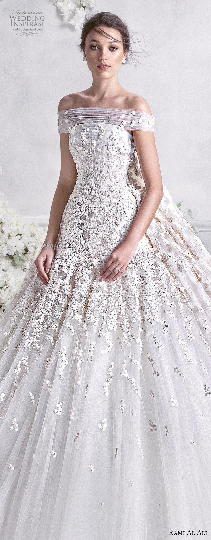 rami al ali 2018 bridal off the shoulder straight across neckline heavily embellished bodice princess ball gown a  line wedding dress royal train (2) lv