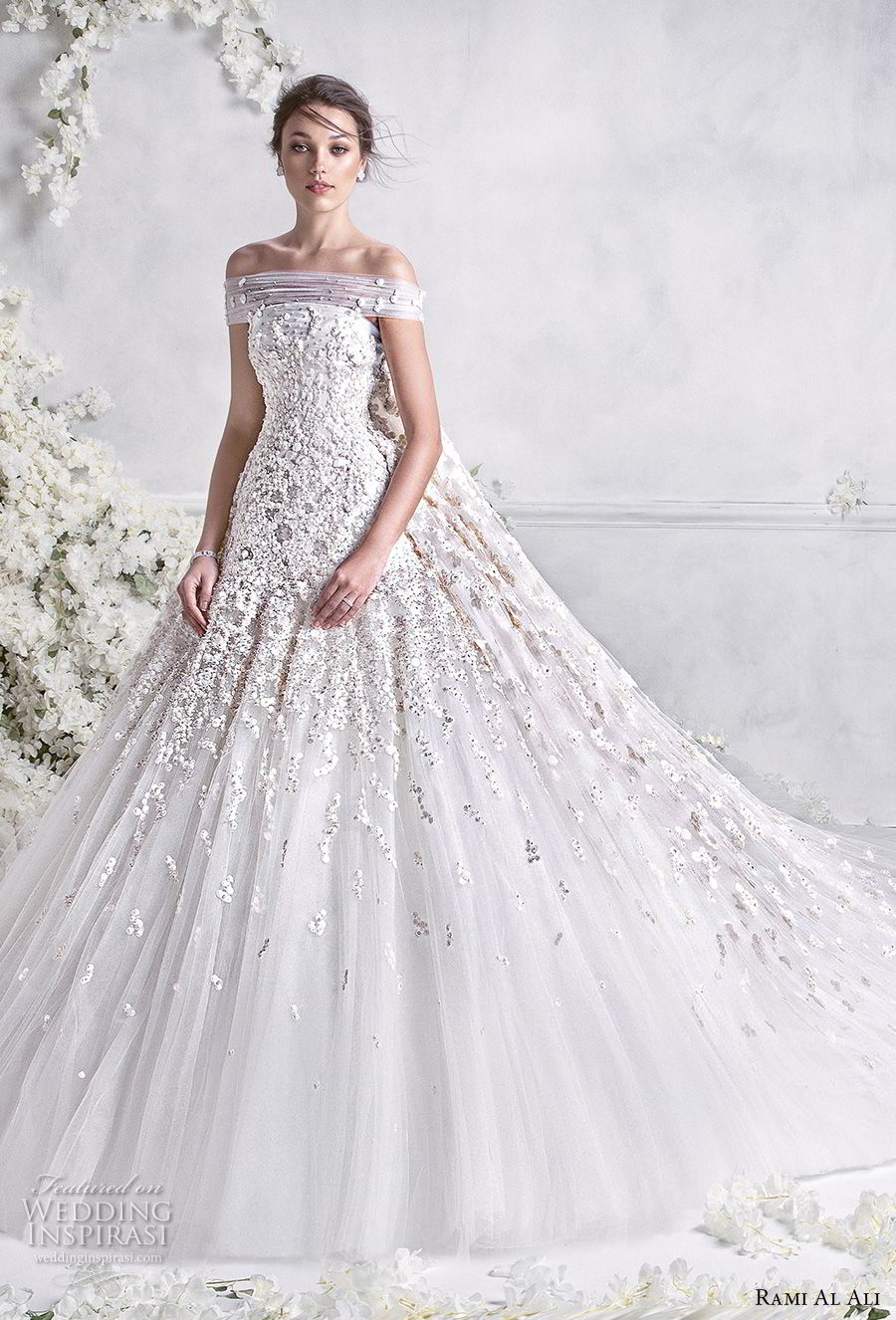 rami al ali 2018 bridal off the shoulder straight across neckline heavily embellished bodice princess ball gown a  line wedding dress royal train (2) mv