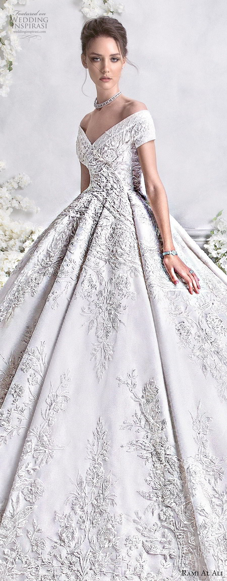 rami al ali 2018 bridal short sleeves off the shoulder v neck full embellishment princess ball gown a  line wedding dress royal train (3) lv
