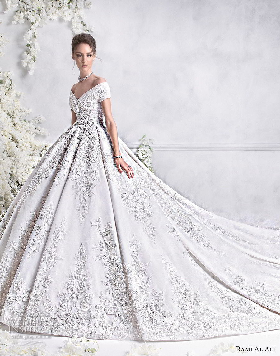 rami al ali 2018 bridal short sleeves off the shoulder v neck full embellishment princess ball gown a  line wedding dress royal train (3) mv