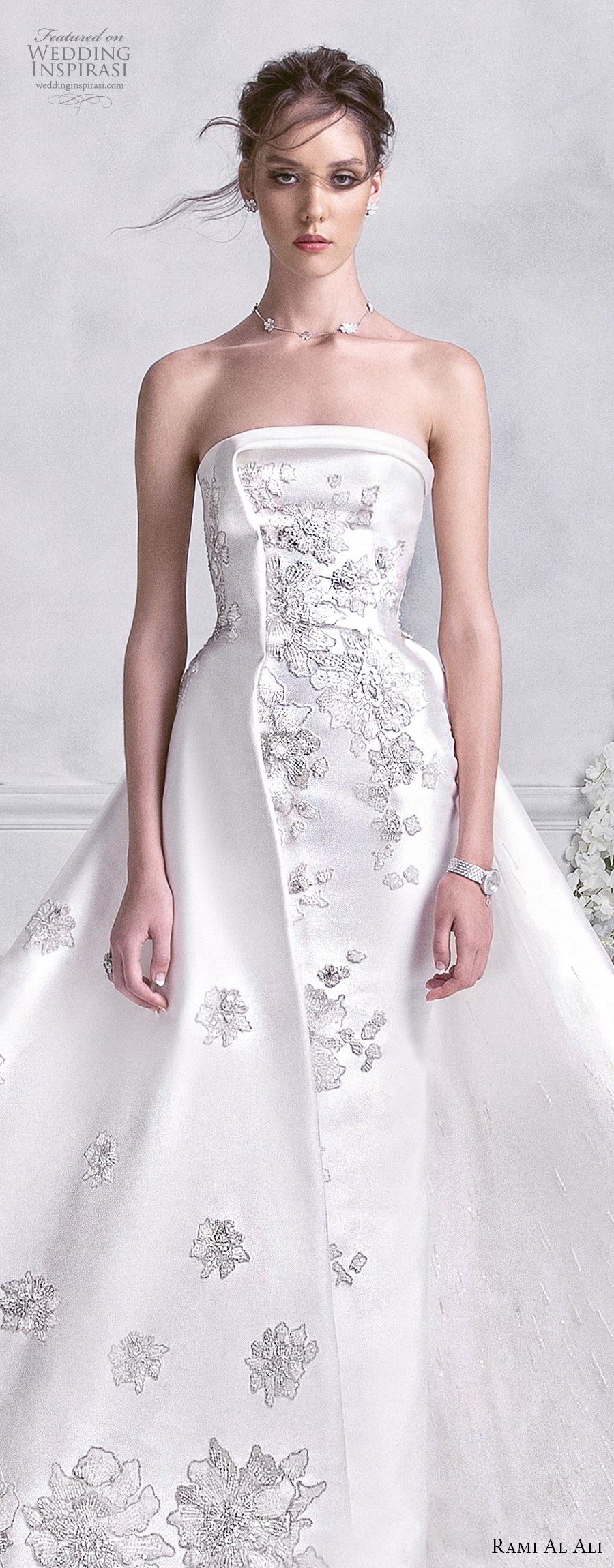 rami al ali 2018 bridal strapless straight across neckline full embellishment romantic elegant a  line wedding dress royal train (5) lv
