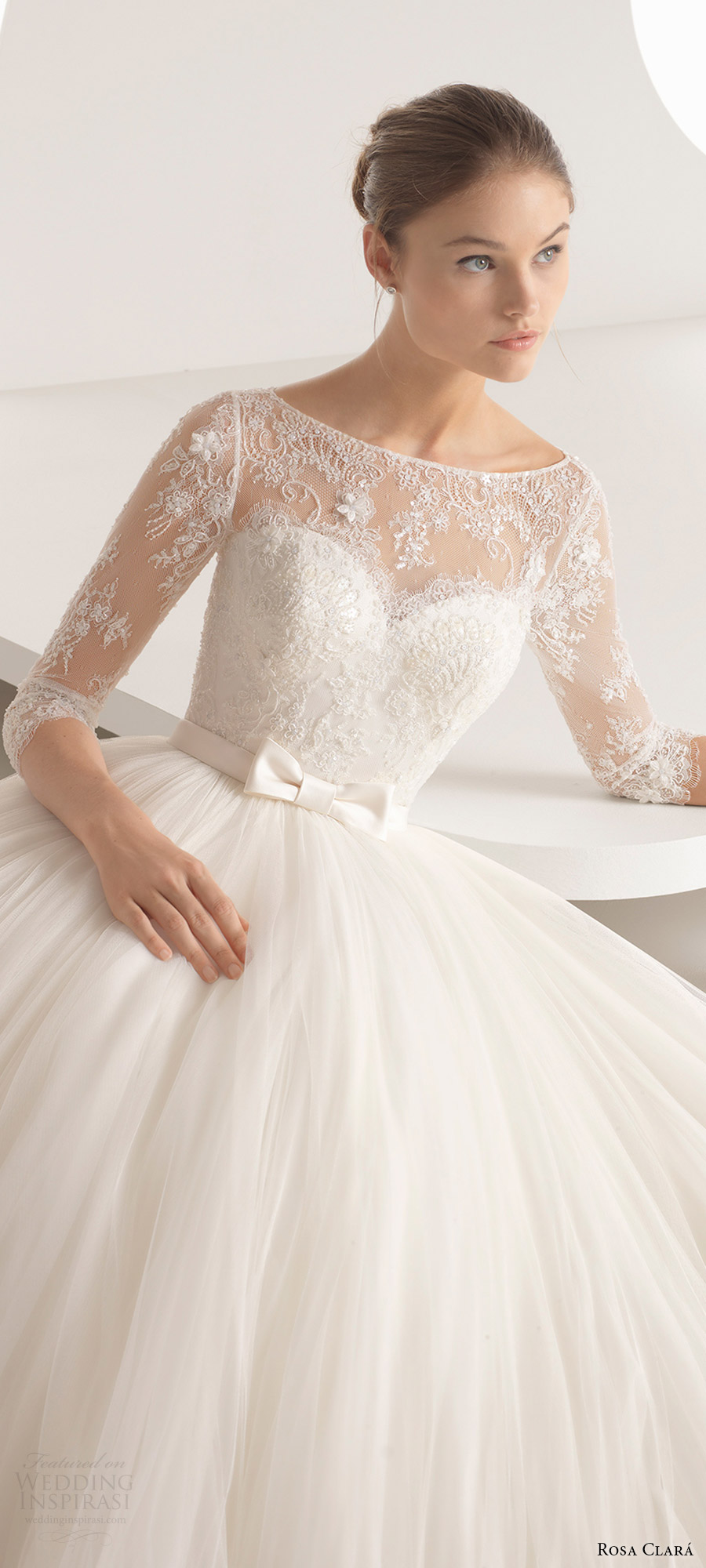 rosa clara 2018 bridal trends 3 quarter illusion sleeves bateau neck lace bodice ball gown wedding dress (alina) zv romantic princess