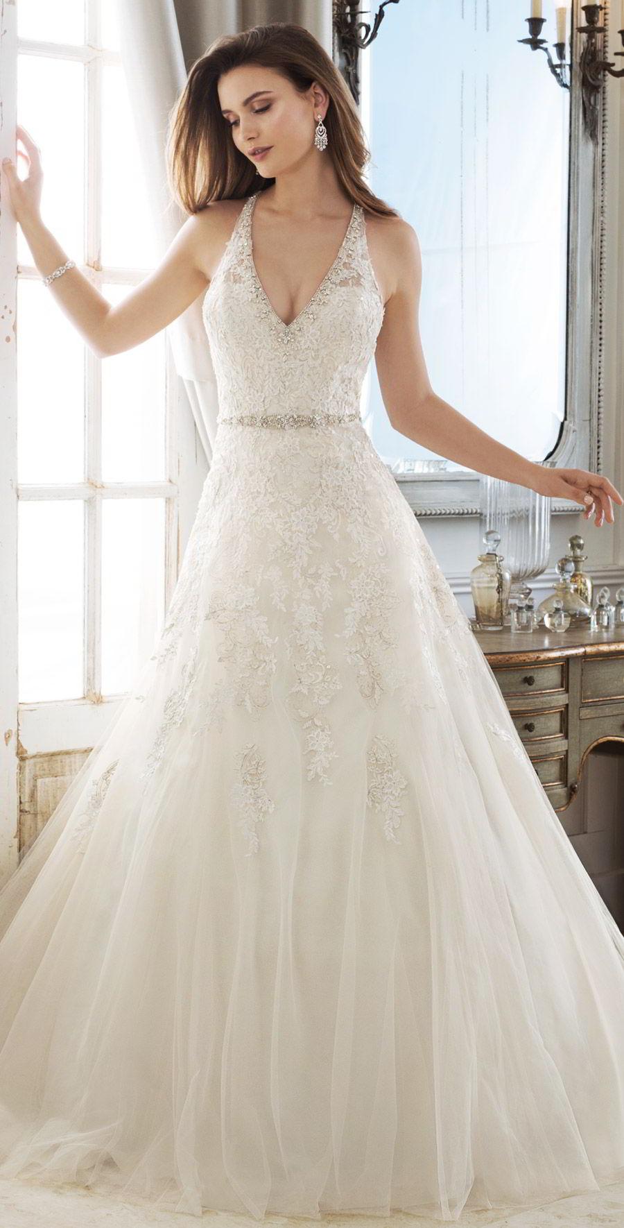 sophia tolli spring 2018 mon cheri bridals sleeveless illusion straps deep v neck beaded waist metallic lace bodice a line wedding dress ( y11878 kali) mv chapel train elegant