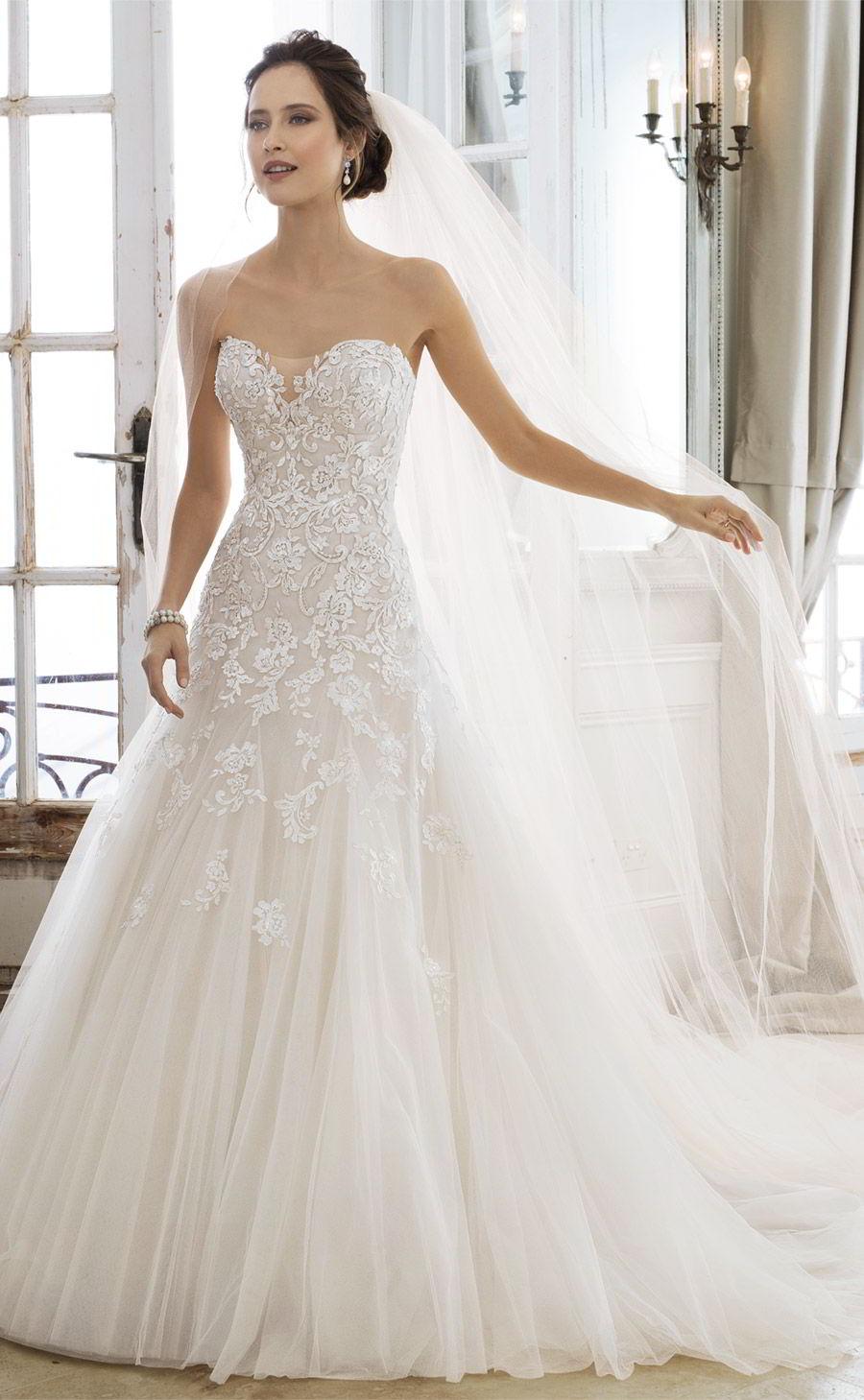 sophia tolli spring 2018 mon cheri bridals strapless sweetheart beaded lace a line wedding dress (y11866 adonia) mv chapel train elegant romantic