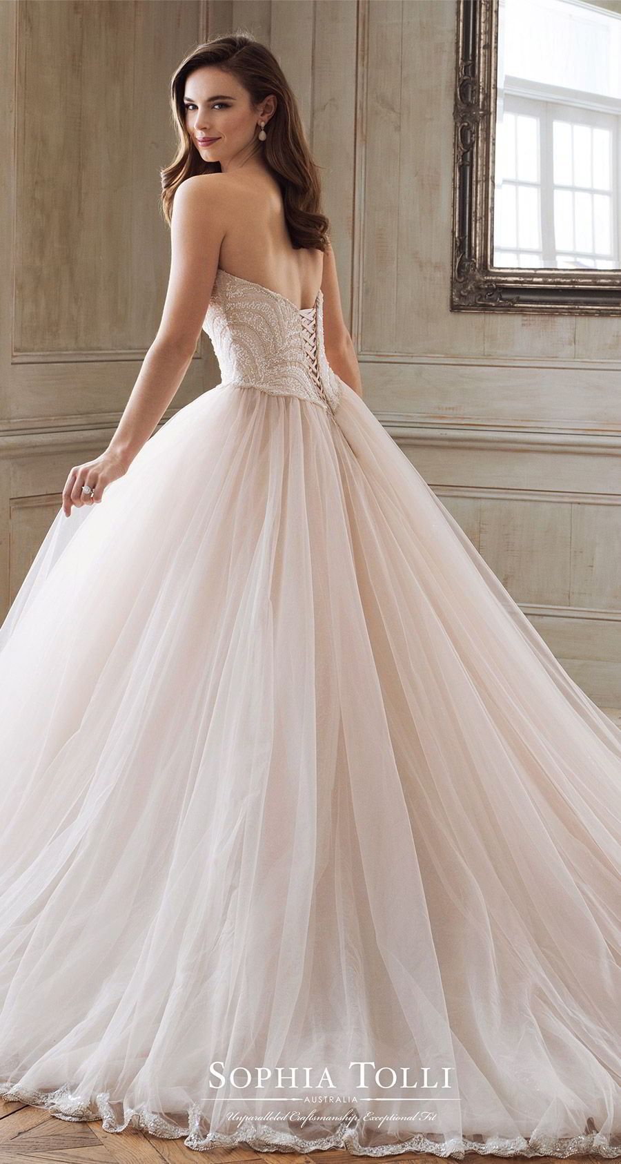 sophia tolli spring 2018 mon cheri bridals strapless sweetheart beaded lace bodice ball gown wedding dress (y11891 aella) bv chapel train corset back blush princess romantic