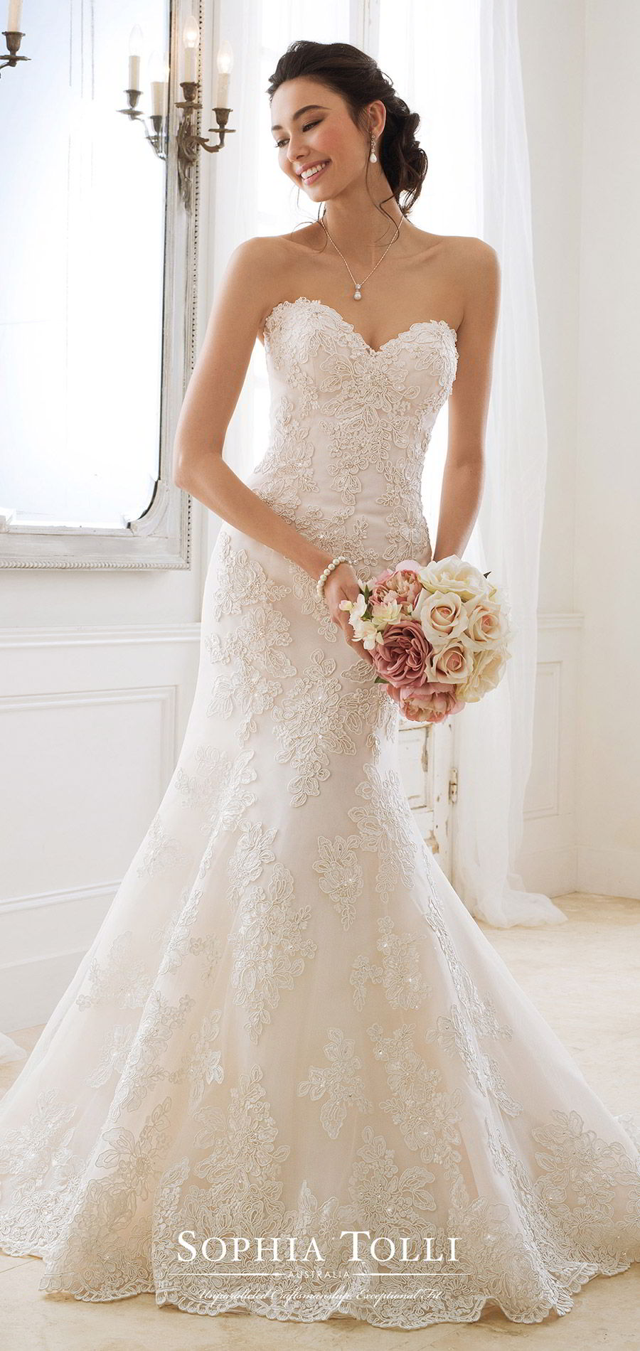 sophia tolli spring 2018 mon cheri bridals strapless sweetheart beaded lace fit flare wedding dress (y11870 alexia) fv corset back court train romantic