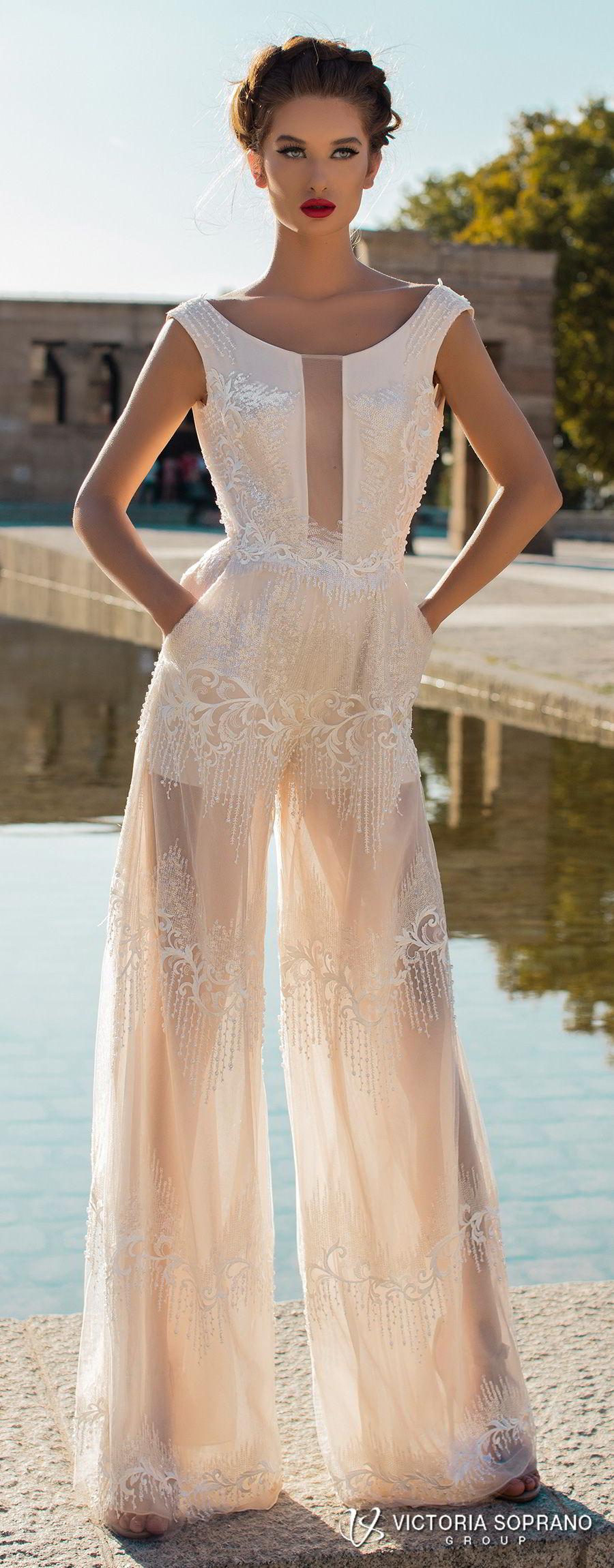 victoria soprano 2018 bridal cap sleeves bateau neckline full embellishment modern champagne color pants wedding dress with pockets v back chapel cape train (emma) lv