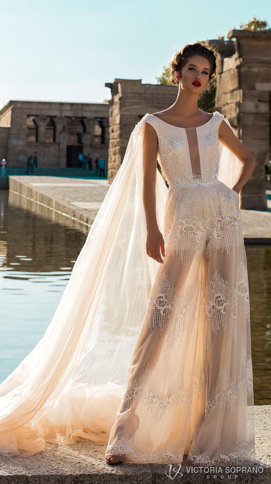 victoria soprano 2018 bridal cap sleeves bateau neckline full embellishment modern champagne color soft a  line wedding dress v back chapel cape train (emma) mv