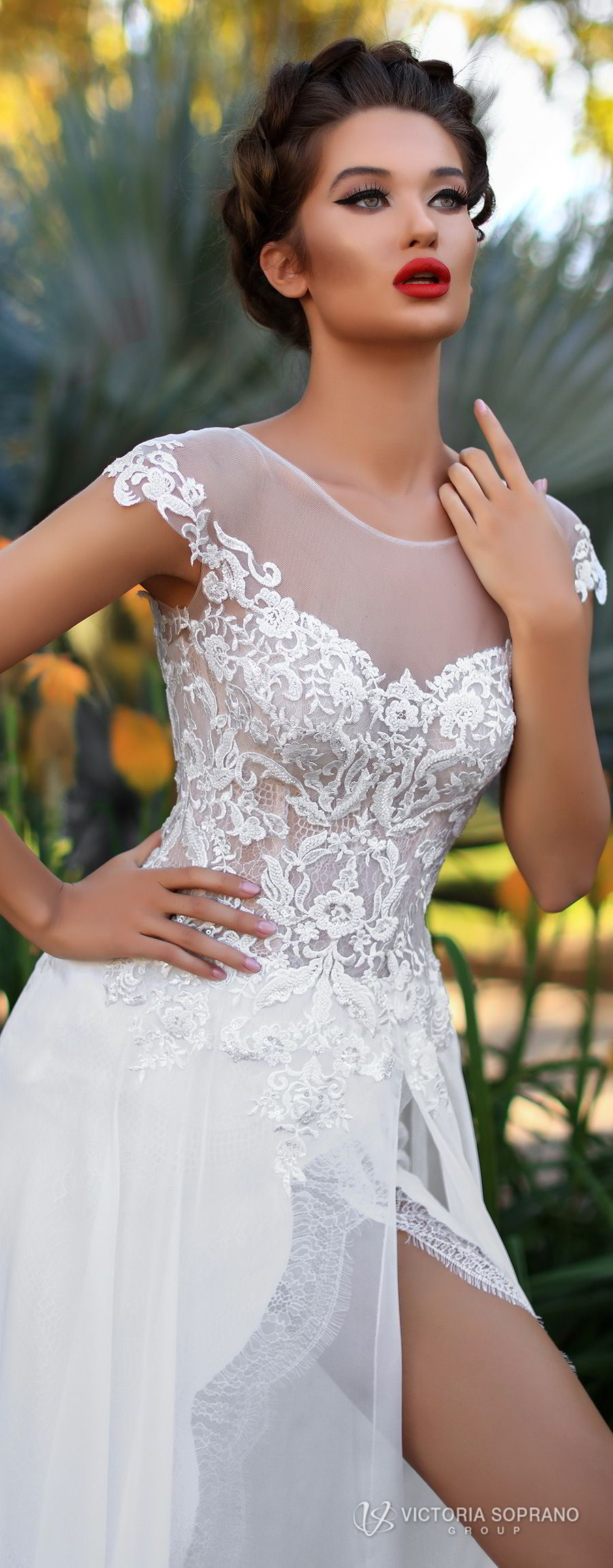 victoria soprano 2018 bridal cap sleeves illusion bateau sweetheart neckline heavily embellished bodice high slit elegant soft a  line wedding dress sheer lace back chapel train (celine) zv