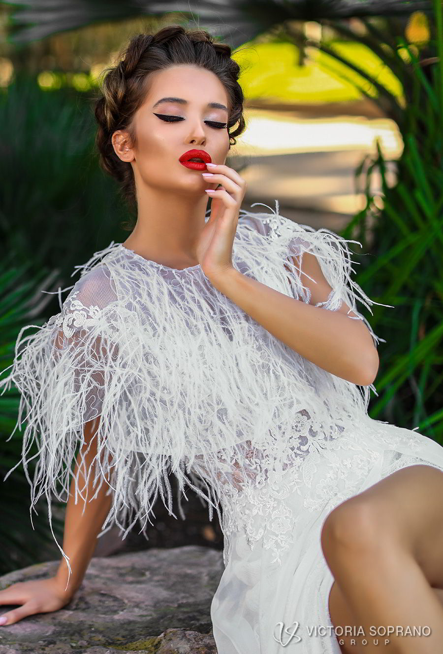 victoria soprano 2018 bridal cap sleeves illusion bateau sweetheart neckline heavily embellished bodice high slit elegant soft a  line wedding dress fringe jacket chapel train (celine) zv