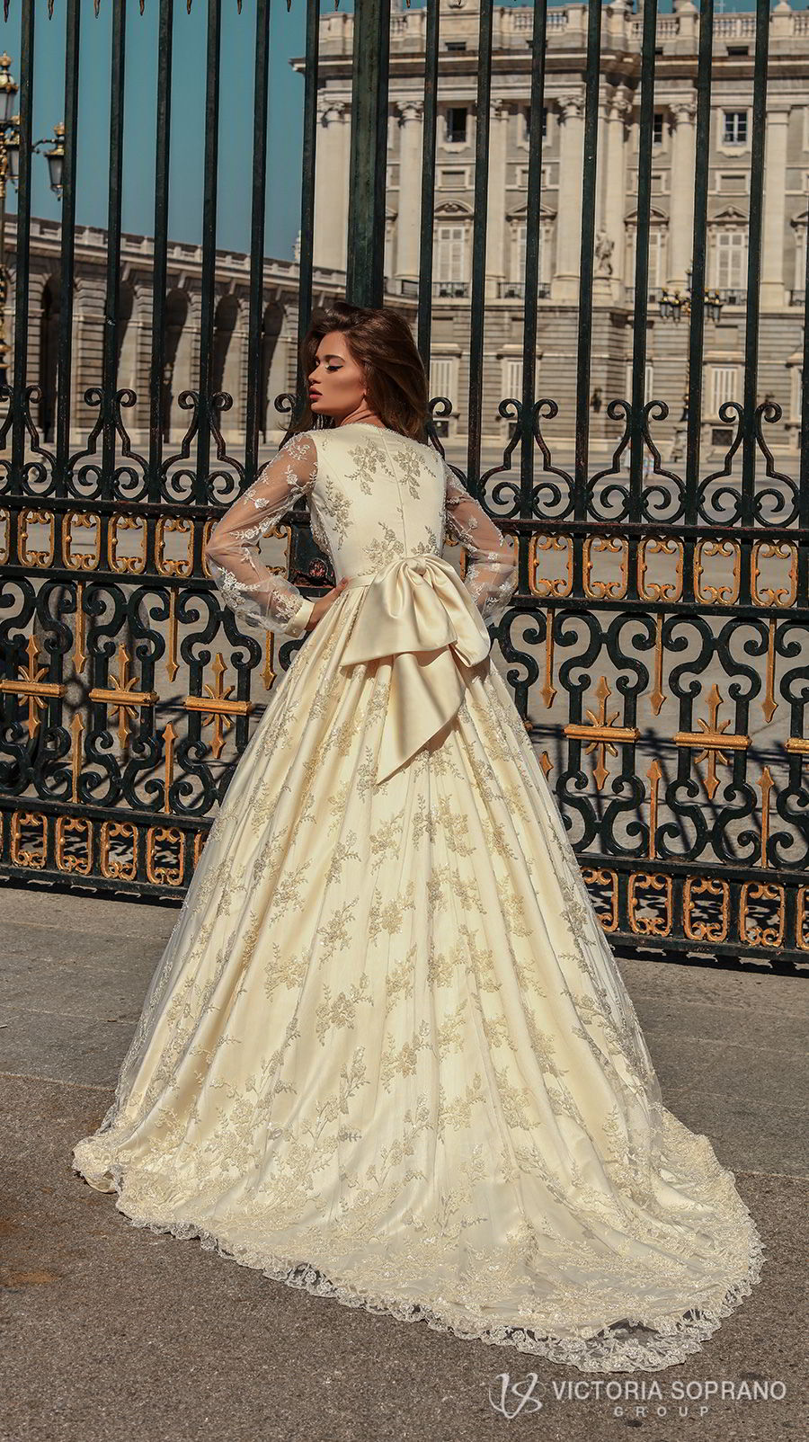 victoria soprano 2018 bridal long bishop sleeves deep plunging v neck full embellishment princess ball gown a  line wedding dress covered lace back chapel train (blair) bv