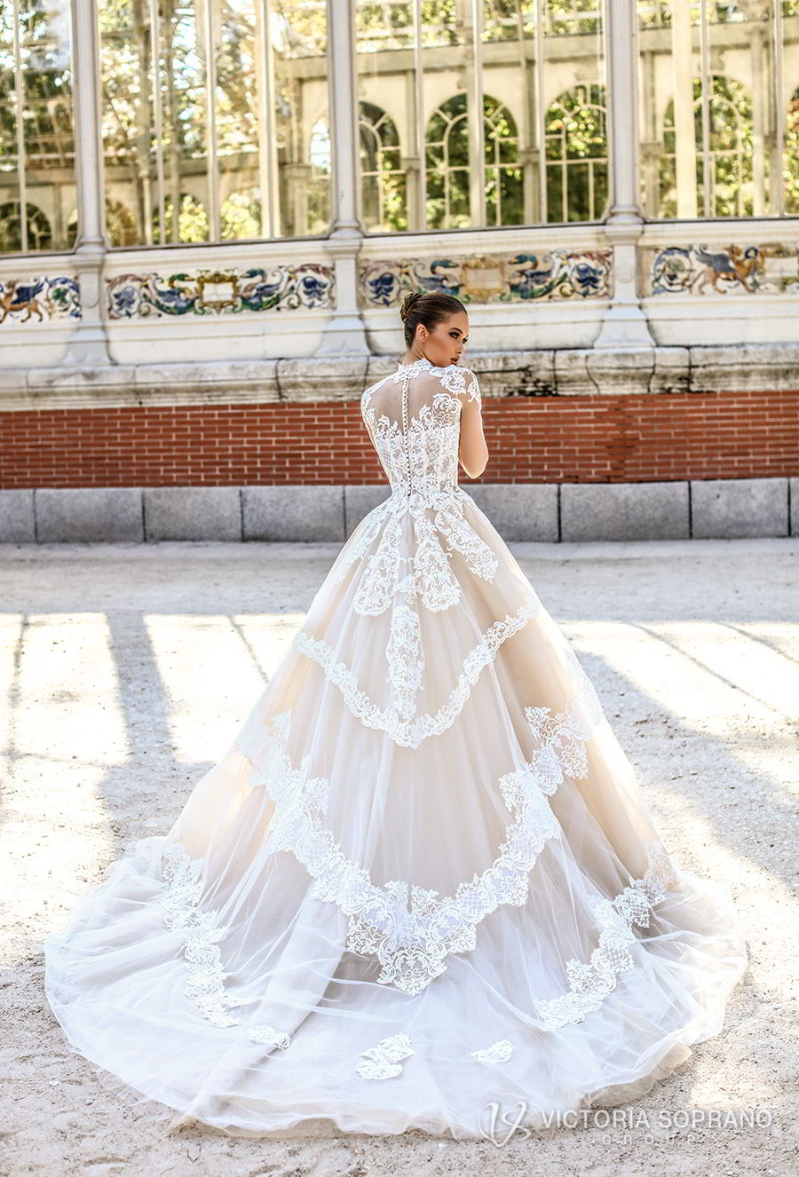 victoria soprano 2018 bridal long sleeves illusion high neck sweetheart neckline heavily embellished bodice princess a line wedding dress sheer lace back chapel train (monique) bv