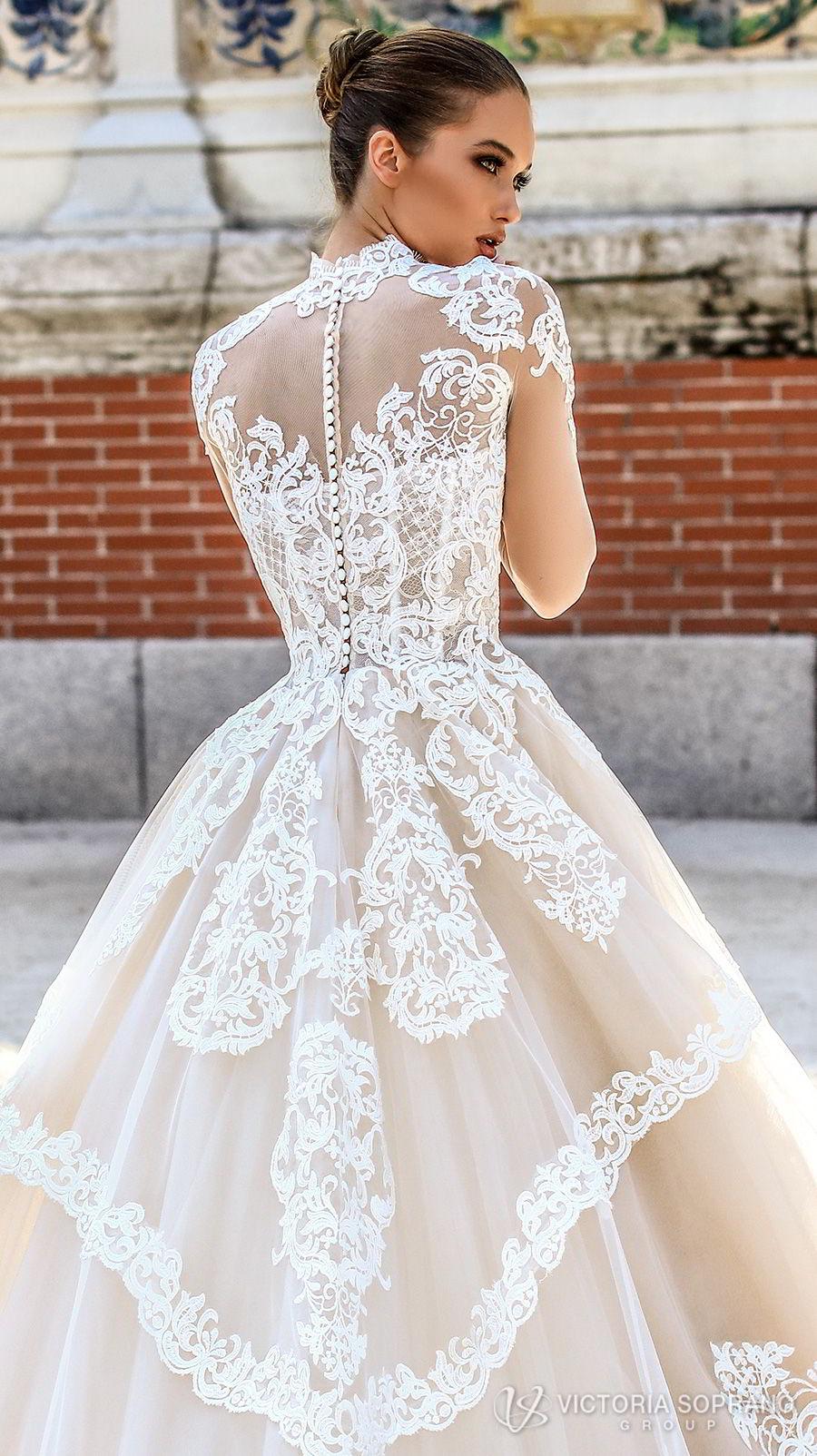 victoria soprano 2018 bridal long sleeves illusion high neck sweetheart neckline heavily embellished bodice princess a  line wedding dress sheer lace back chapel train (monique) zbv