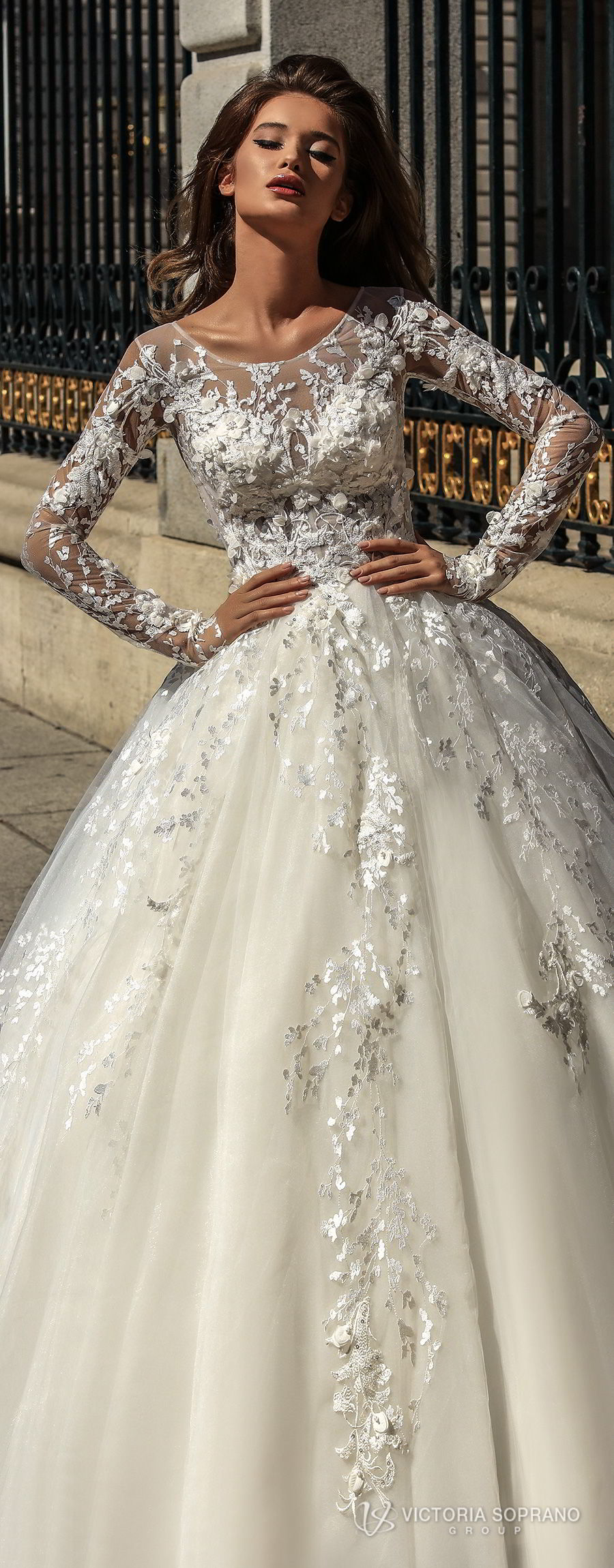 cfed6b735f victoria soprano 2018 bridal long sleeves illusion jewel sweetheart  neckline heavily embellished bodice princess ball gown