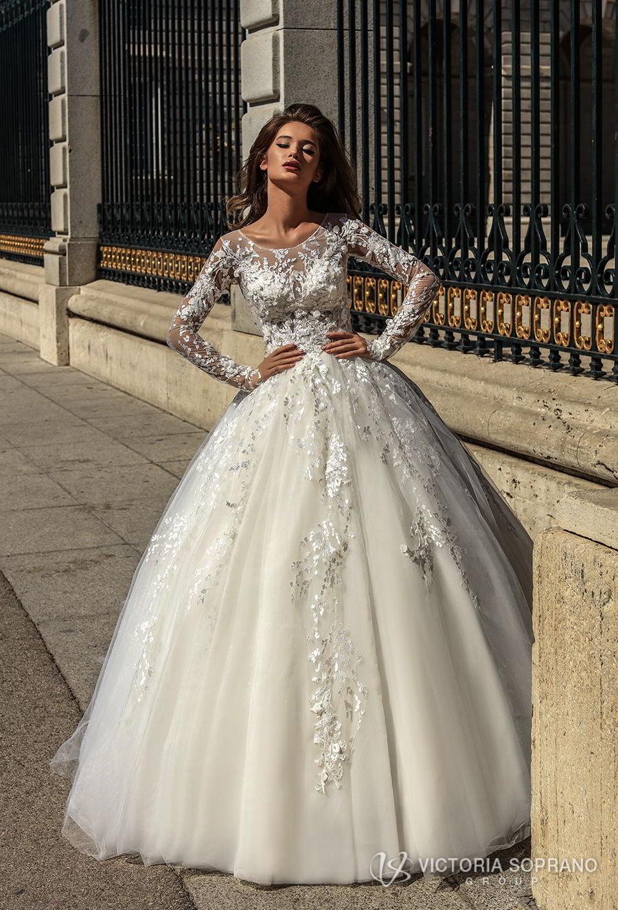 victoria soprano 2018 bridal long sleeves illusion jewel sweetheart neckline heavily embellished bodice princess ball gown a  line wedding dress sheer lace back chapel train (felicity) mv