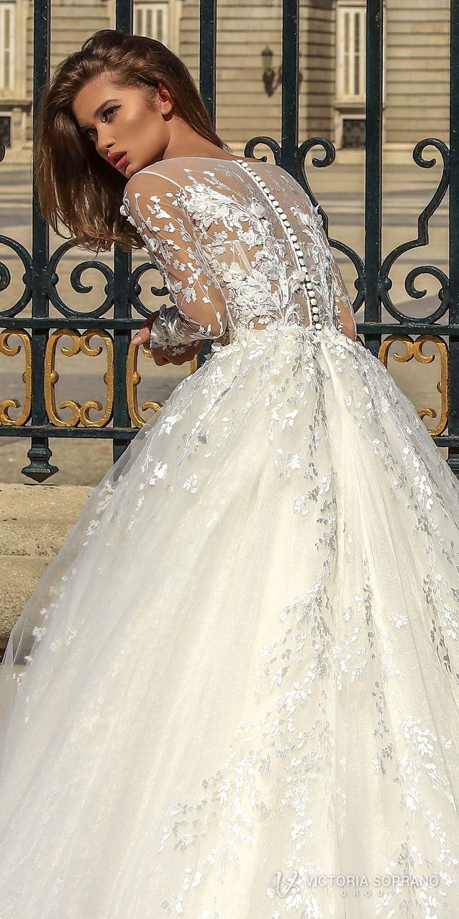 victoria soprano 2018 bridal long sleeves illusion jewel sweetheart neckline heavily embellished bodice princess ball gown a  line wedding dress sheer lace back chapel train (felicity) zbv